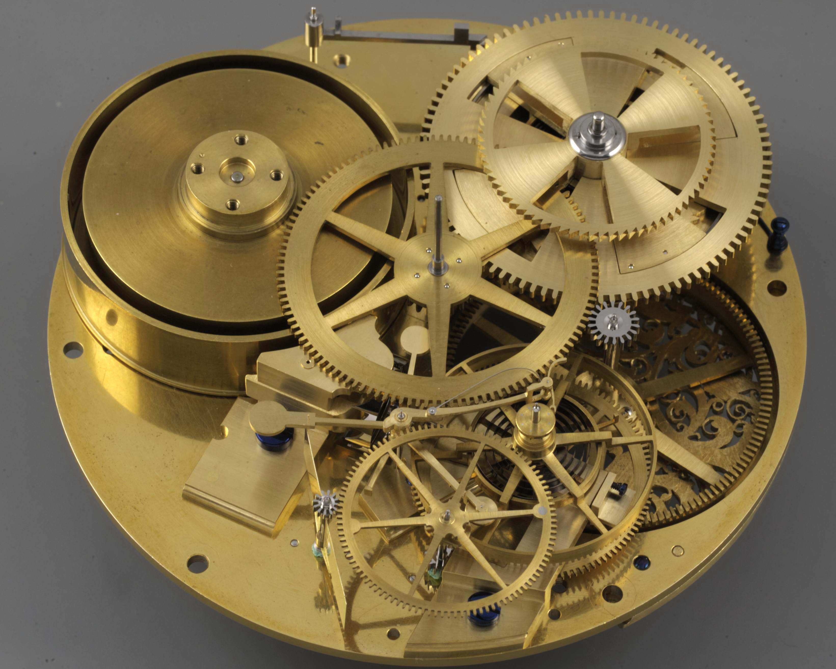 H4 completed watch movement gear train in Three Watchmakers' Unfinished Watches for A Collected Man London