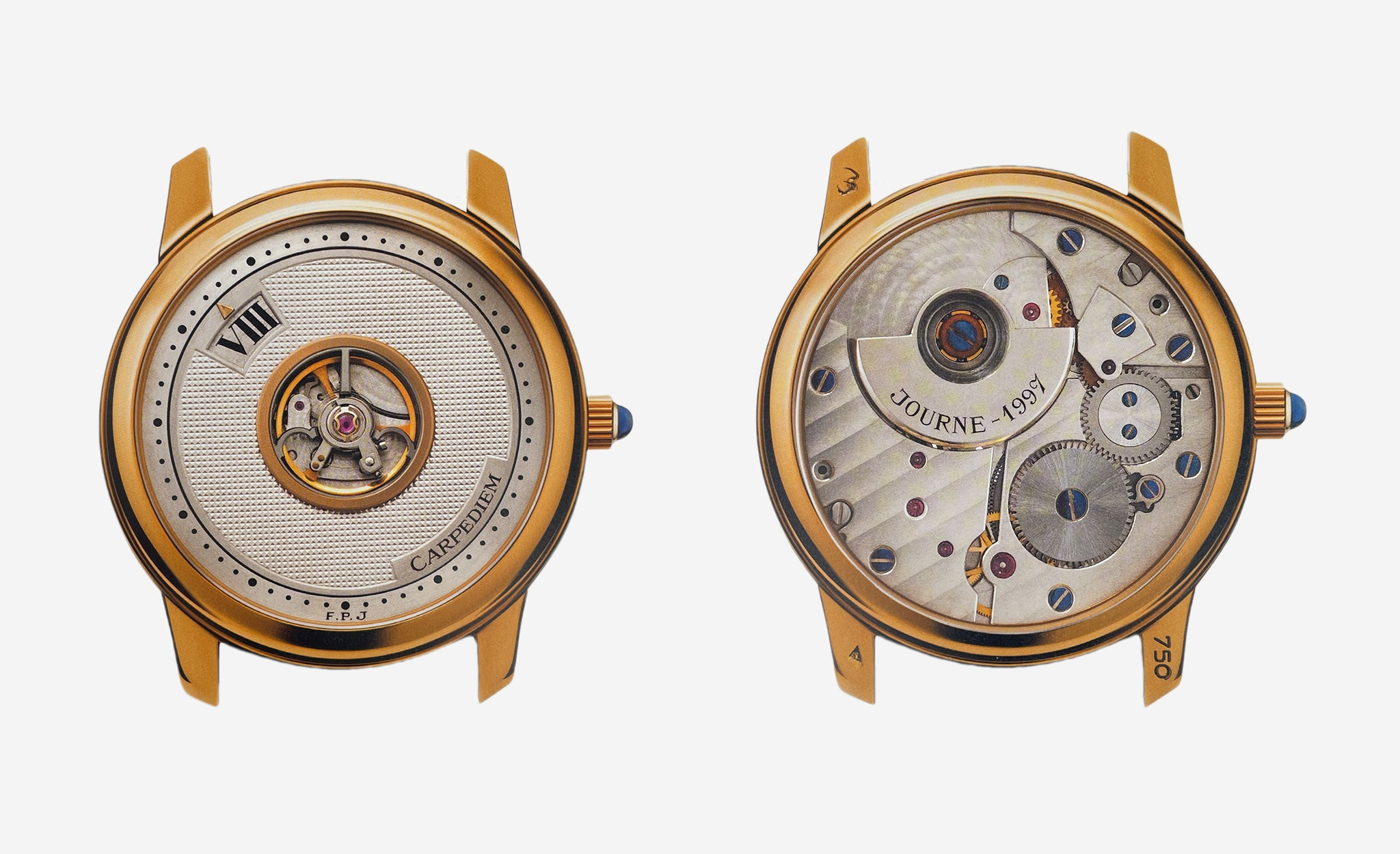 Carpe Diem watch front and back by F.P. Journe in Three Watchmakers' Unfinished Watches for A Collected Man London