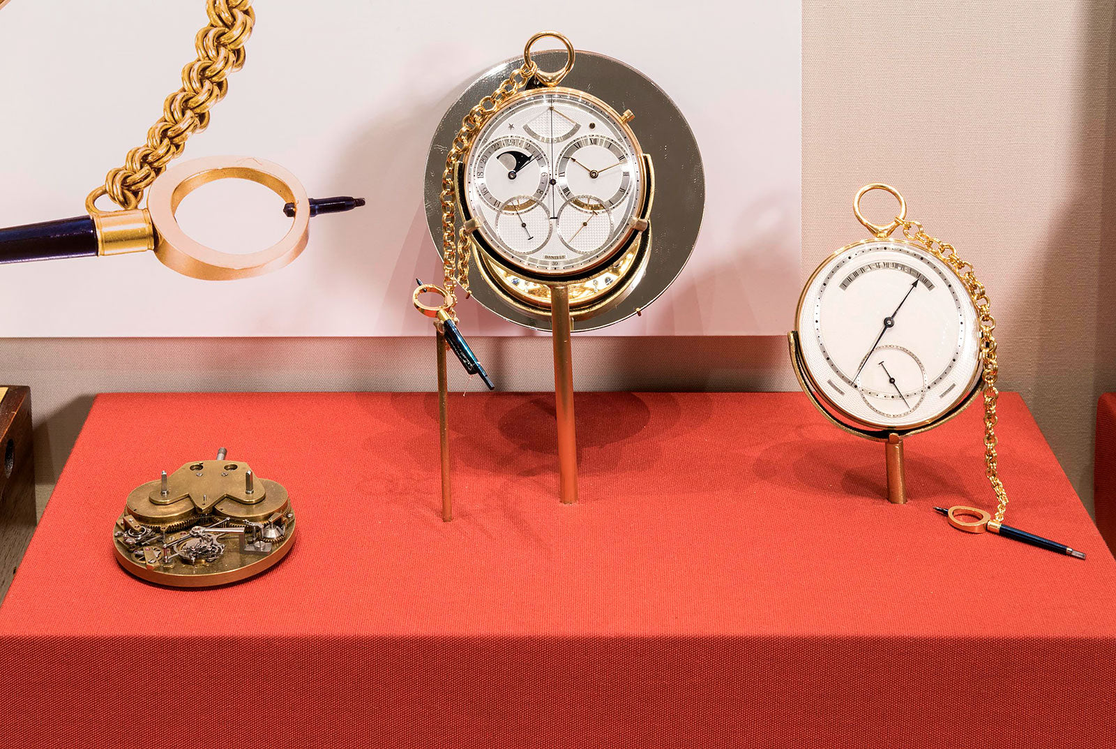 Display at Science Museum of Daniels watches in Three Watchmakers' Unfinished Watches for A Collected Man London