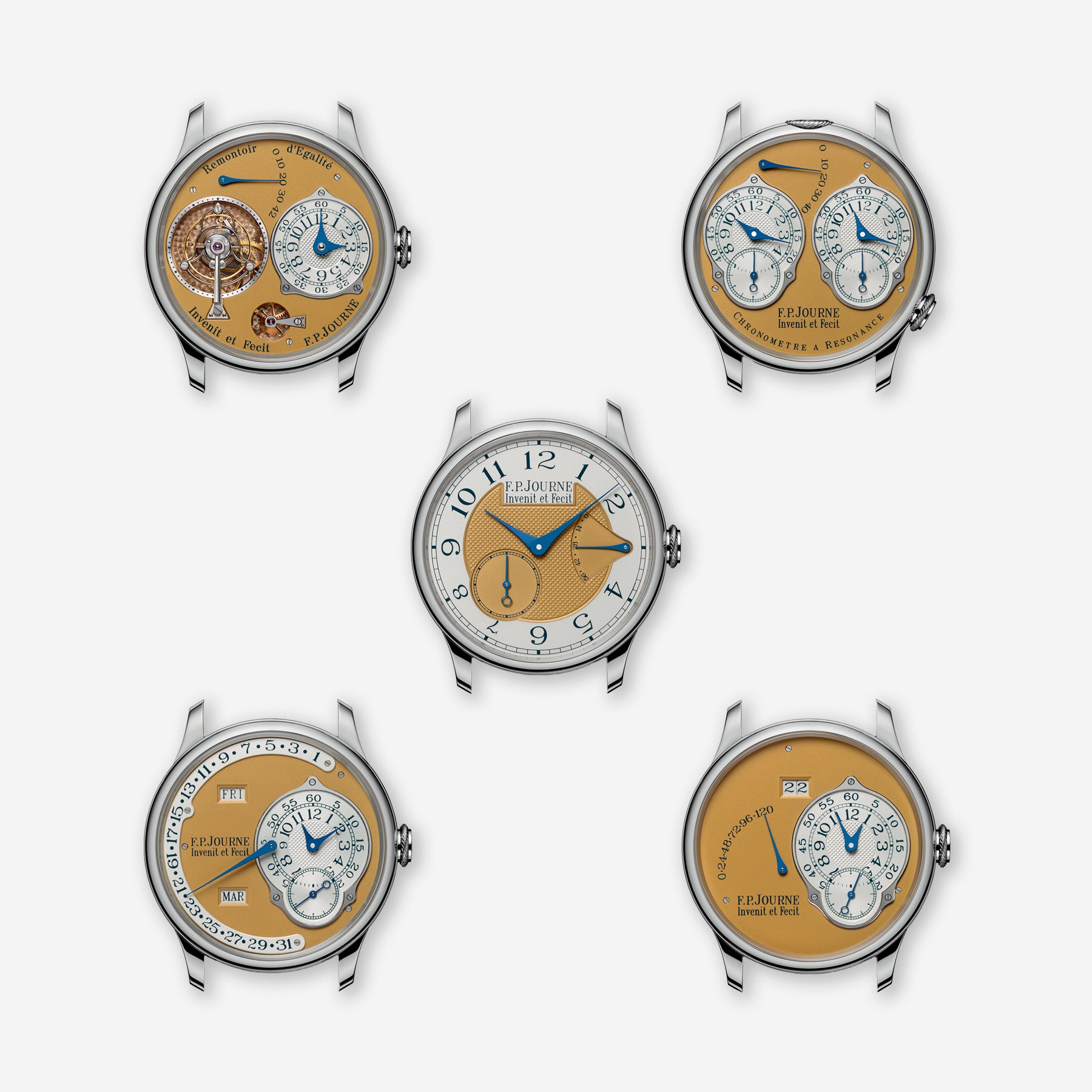F.P. Journe limited edition of steel set of watches in a grid