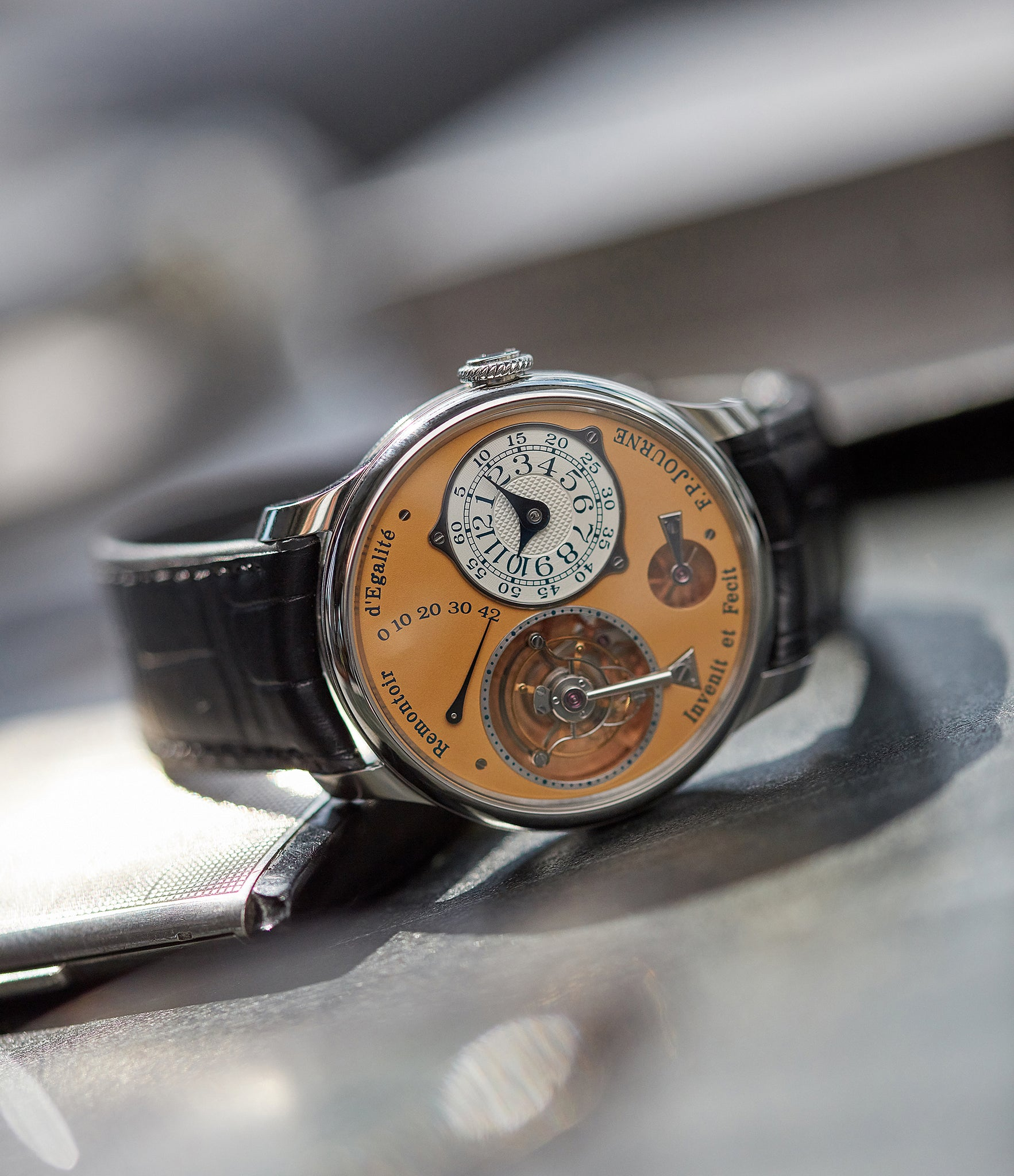 F.P. Journe tourbillon Souverain from the steel set shot by A Collected Man