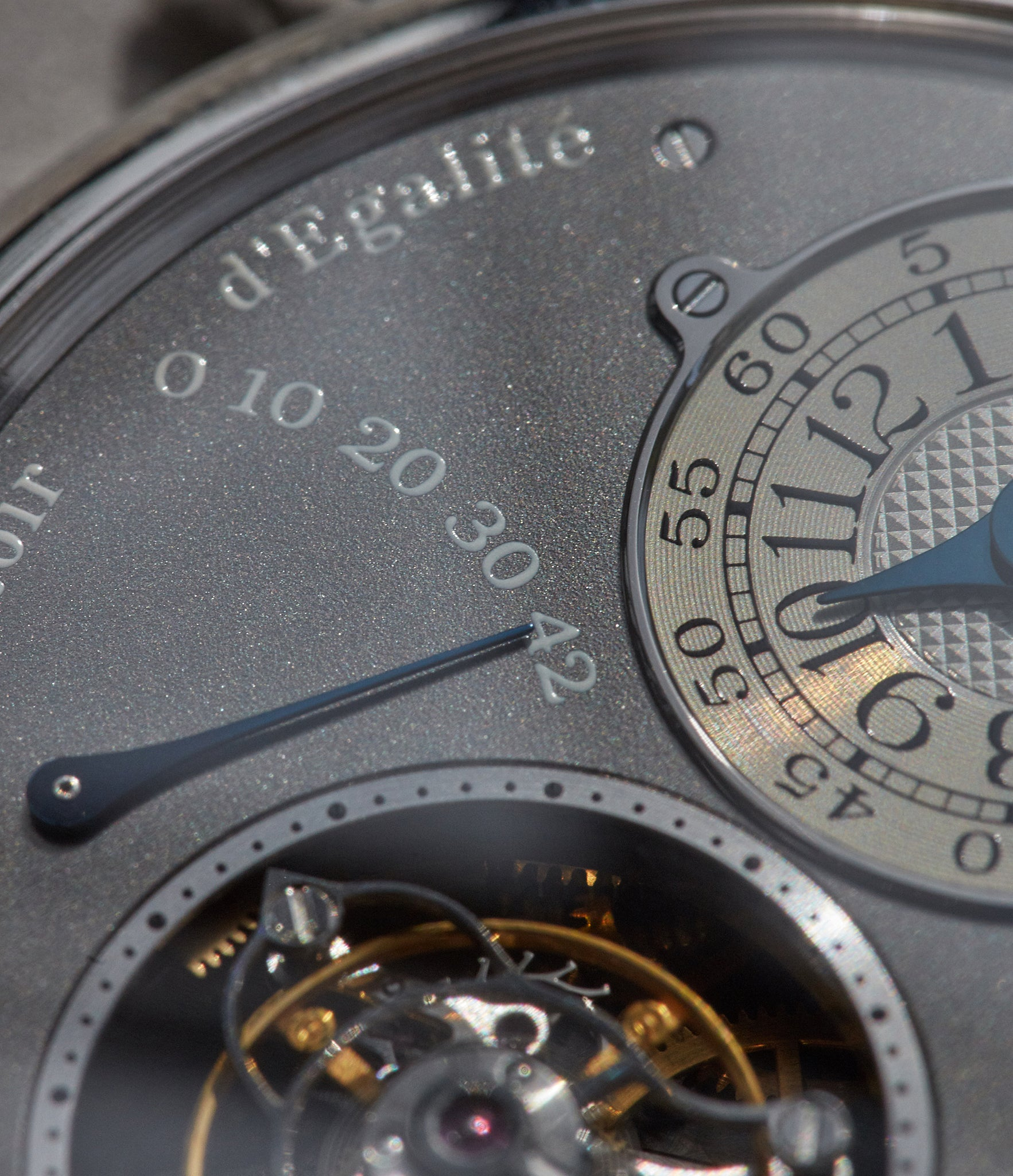 Macro shot showing details on the dial of the Tourbillon Souverain from the Ruthenium collection from F.P. Journe