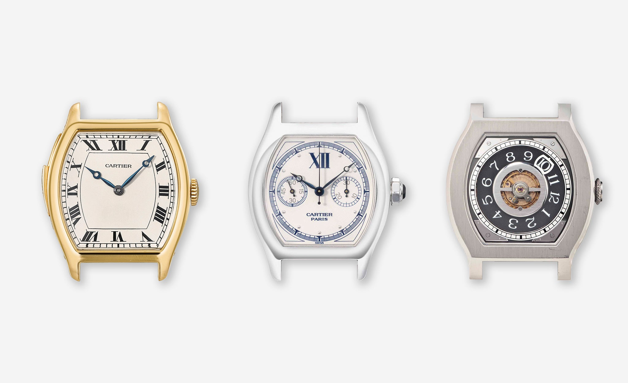 Three tortue shaped watches, two from Cartier and one F.P. Journe