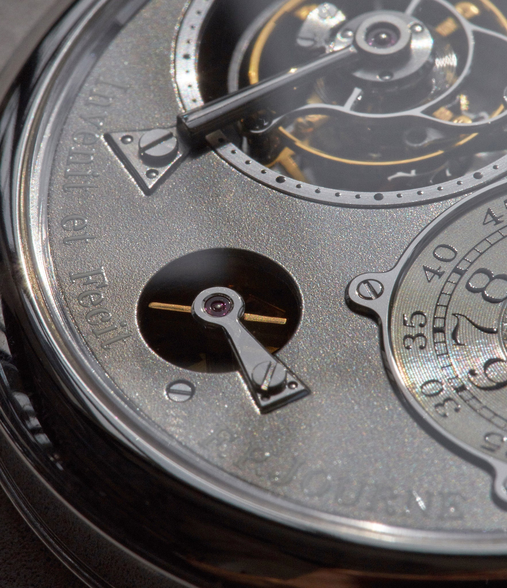 Macro image showing the details on the dial of the Tourbillon Souverain from the Ruthenium collection by F.P. Journe