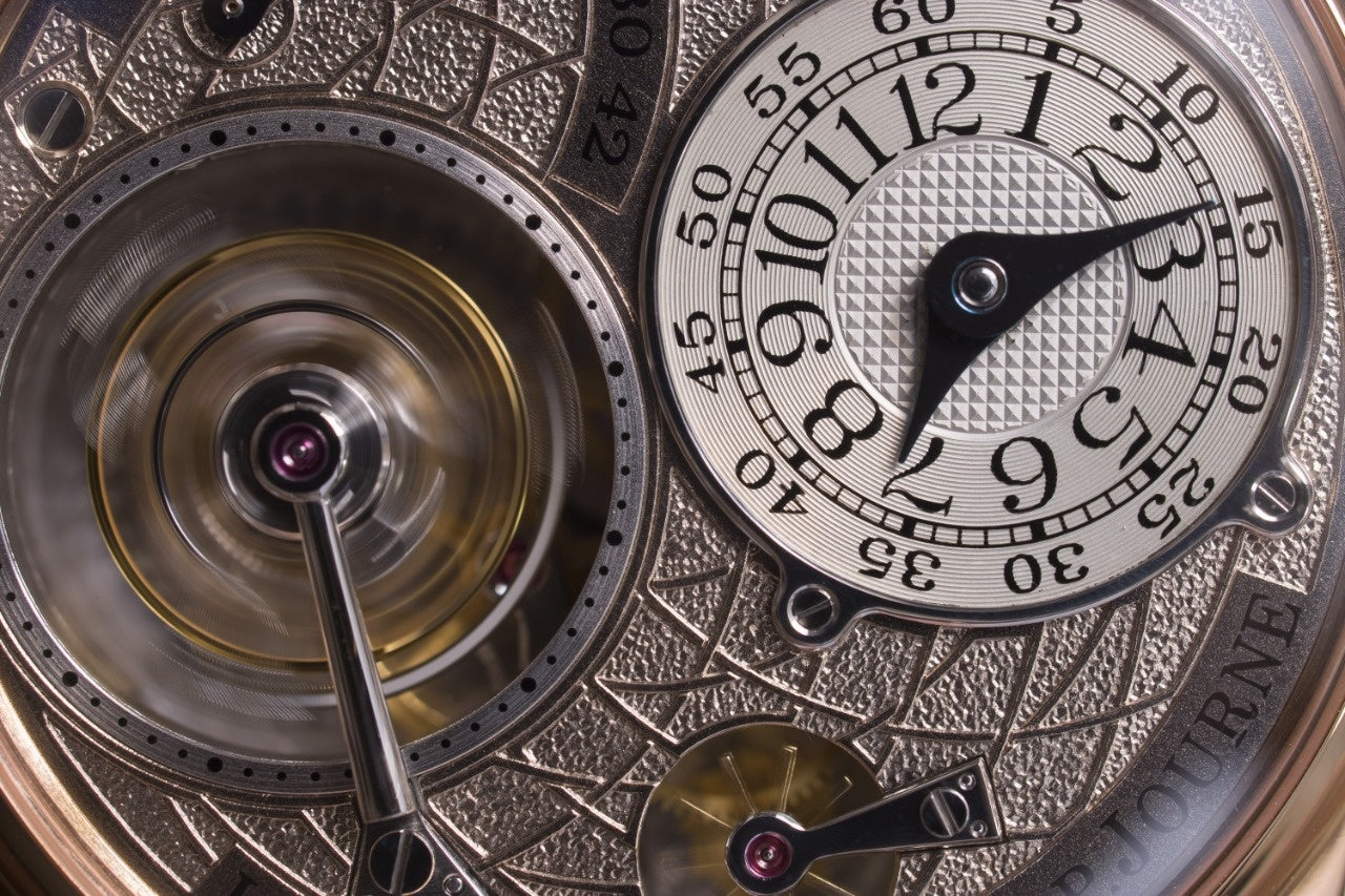 Macro shot of an F.P. Journe Labyrinth dial