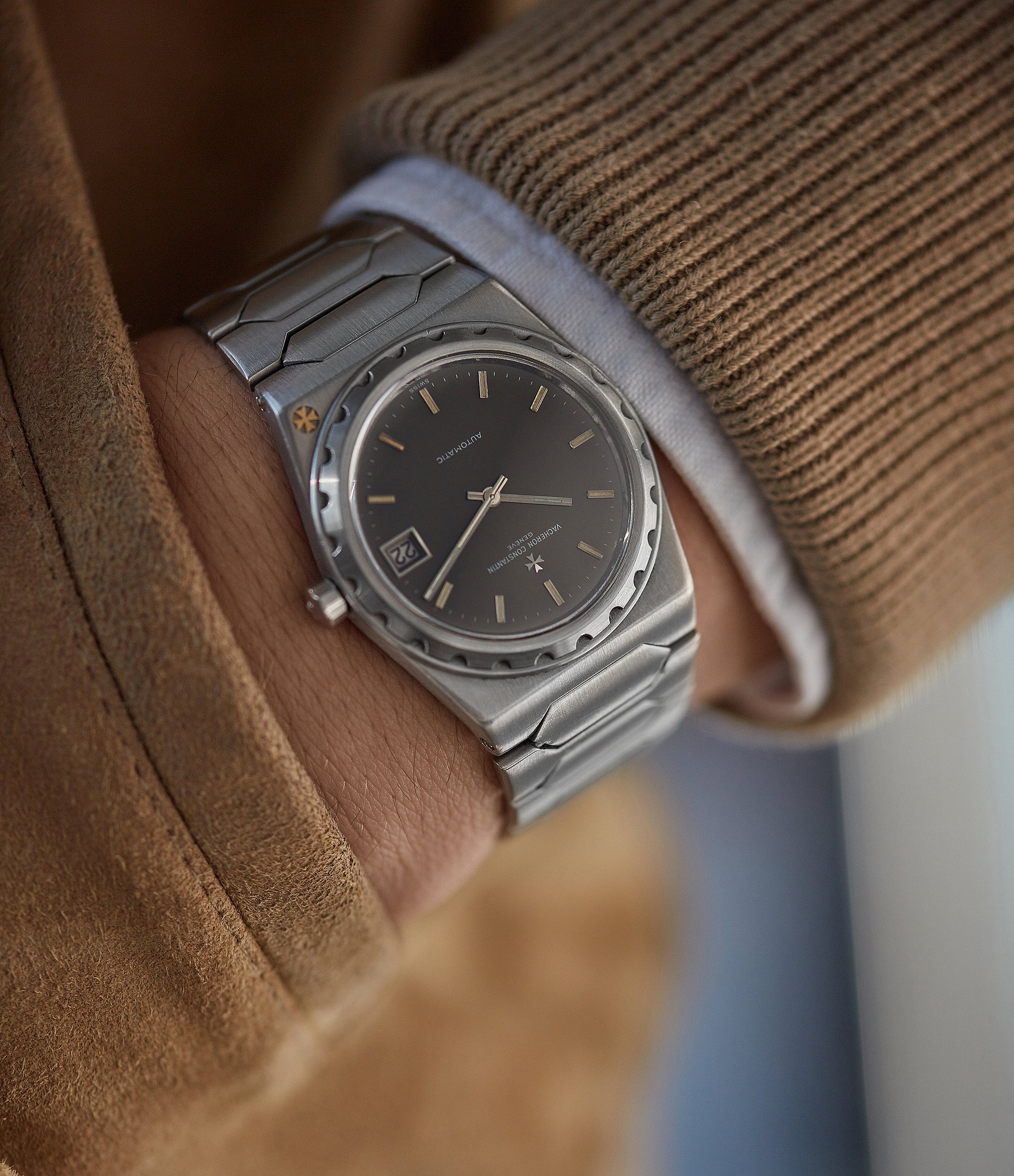 Vacheron Constantin 222 stainless steel with a black dial wrist shot for A Collected Man London