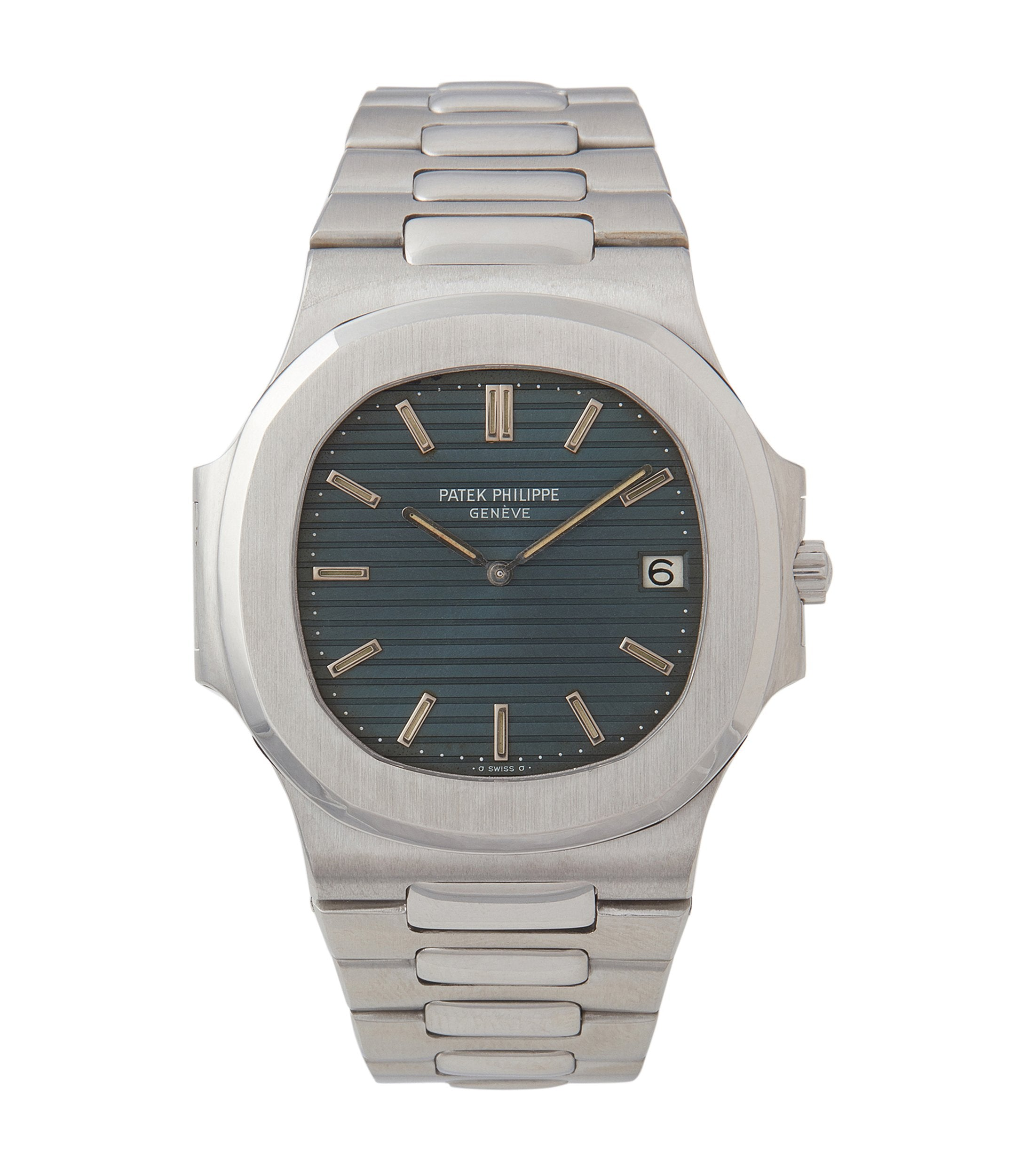 Patek Philippe reference 3700 Nautilus stainless steel blue dial with patina for A Collected Man London
