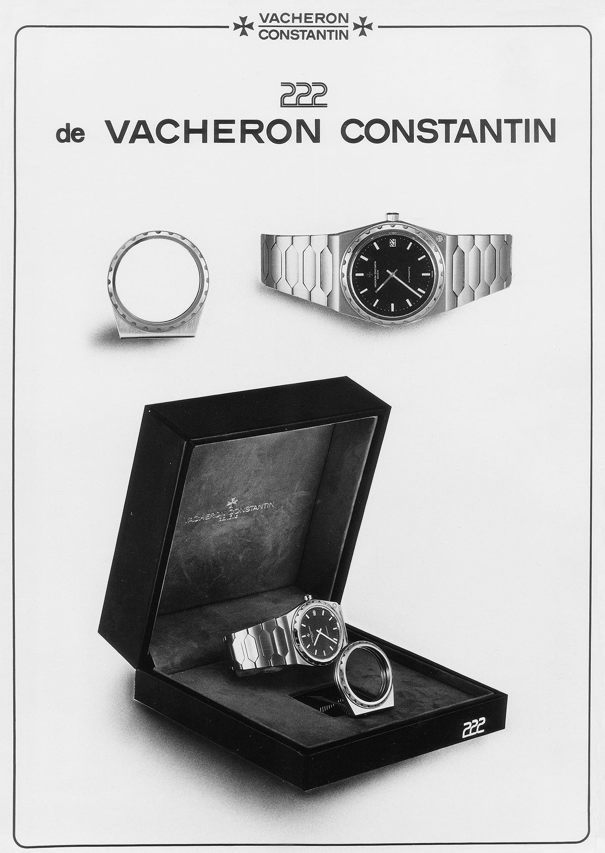 Vacheron Constantin 222 advert showing the original presentation box with bezel shaped money clip for A Collected Man London