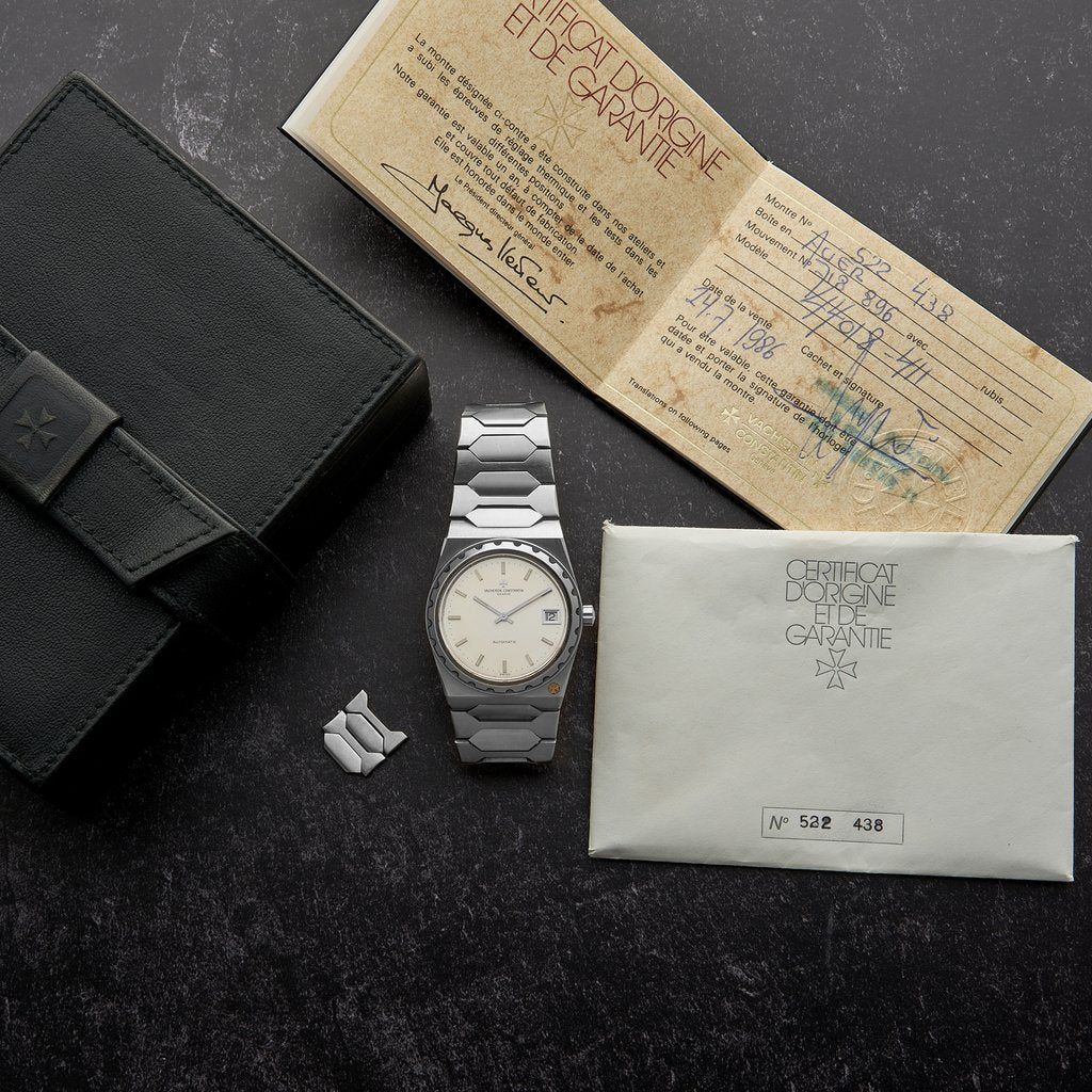 Vacheron Constantin 222 stainless steel white dial with original box and papers bought in 1986 from Hodinkee Shop for A Collected Man London