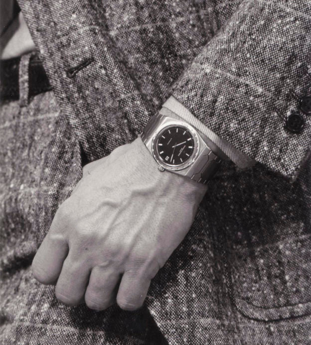 Vacheron Constantin 222 on the wrist of a man in a photoshoot black and white for A Collected Man London
