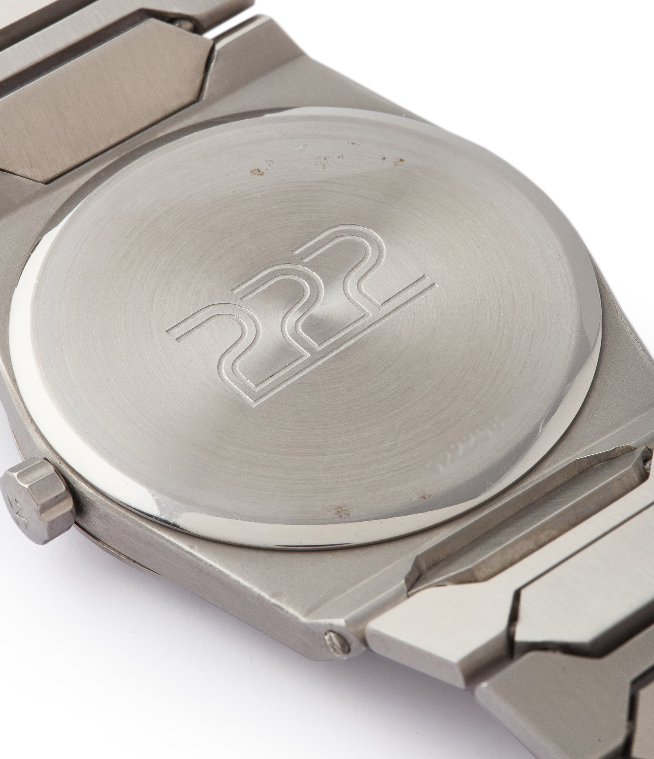 Vacheron Constantin 222 caseback showing the 222 engraving in stainless steel for A Collected Man London