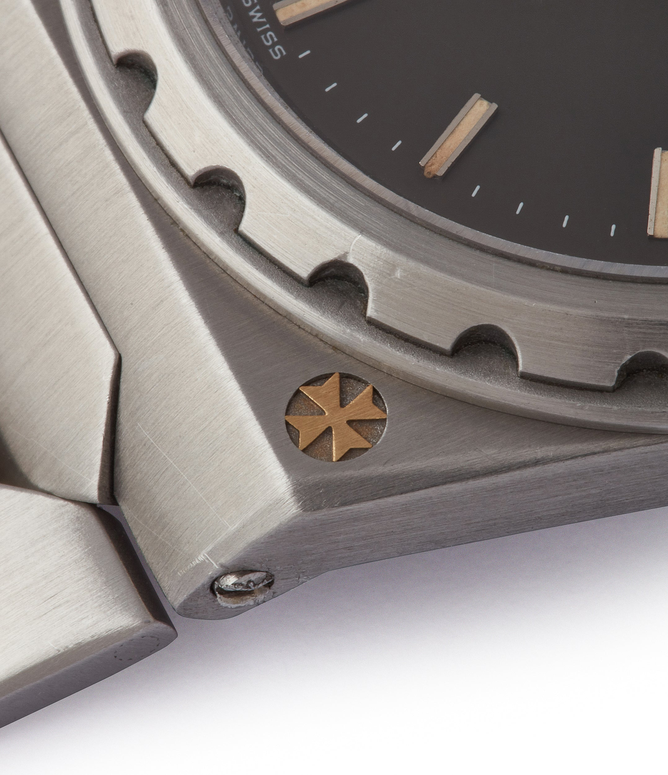 Vacheron Constantin 222 corner of the case showing the inlaid Maltese Cross for A Collected Man London