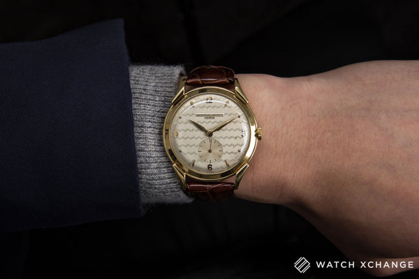 Vacheron Constantin Oversize Vintage Engine-turned Dial yellow gold manual-winding Cal. P453/3B vintage authentic pre-owned dress, rare luxury watch from circa 1949 with silver guilloché dial and brown alligator strap with hours, minutes, small seconds