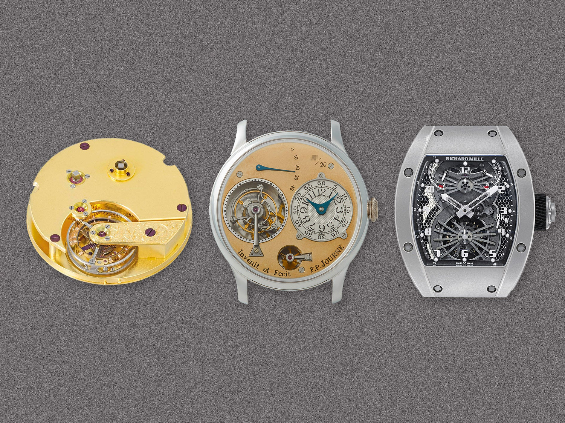 Three tourbillon watches showing the progression of the complication over time