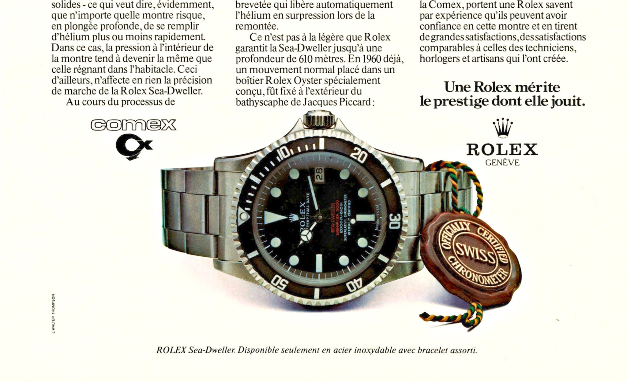 Rolex print advertisement showing double red sea-dweller and partnership with COMEX for A Collected Man London