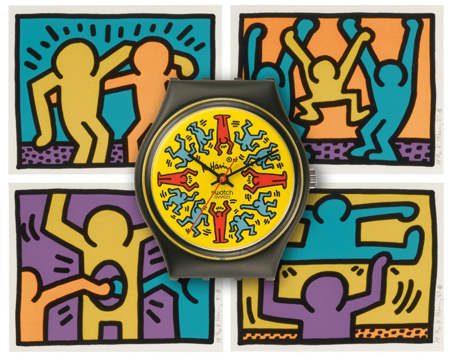 Keith Haring Swatch collaboration in front of four Keith Haring artworks for A Collected Man London
