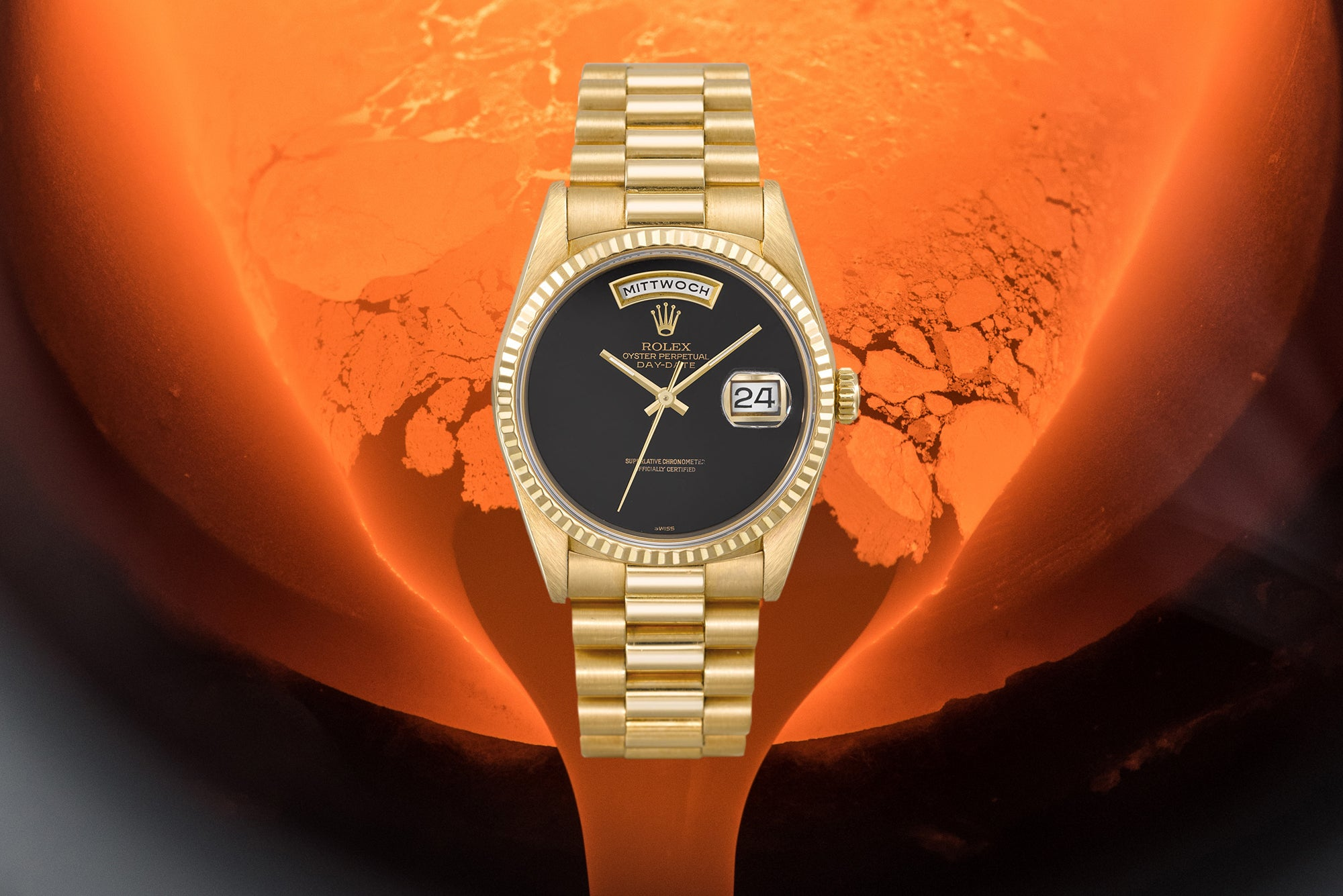 Gold Rolex Day-Date Presidential with a black dial for A Collected Man London
