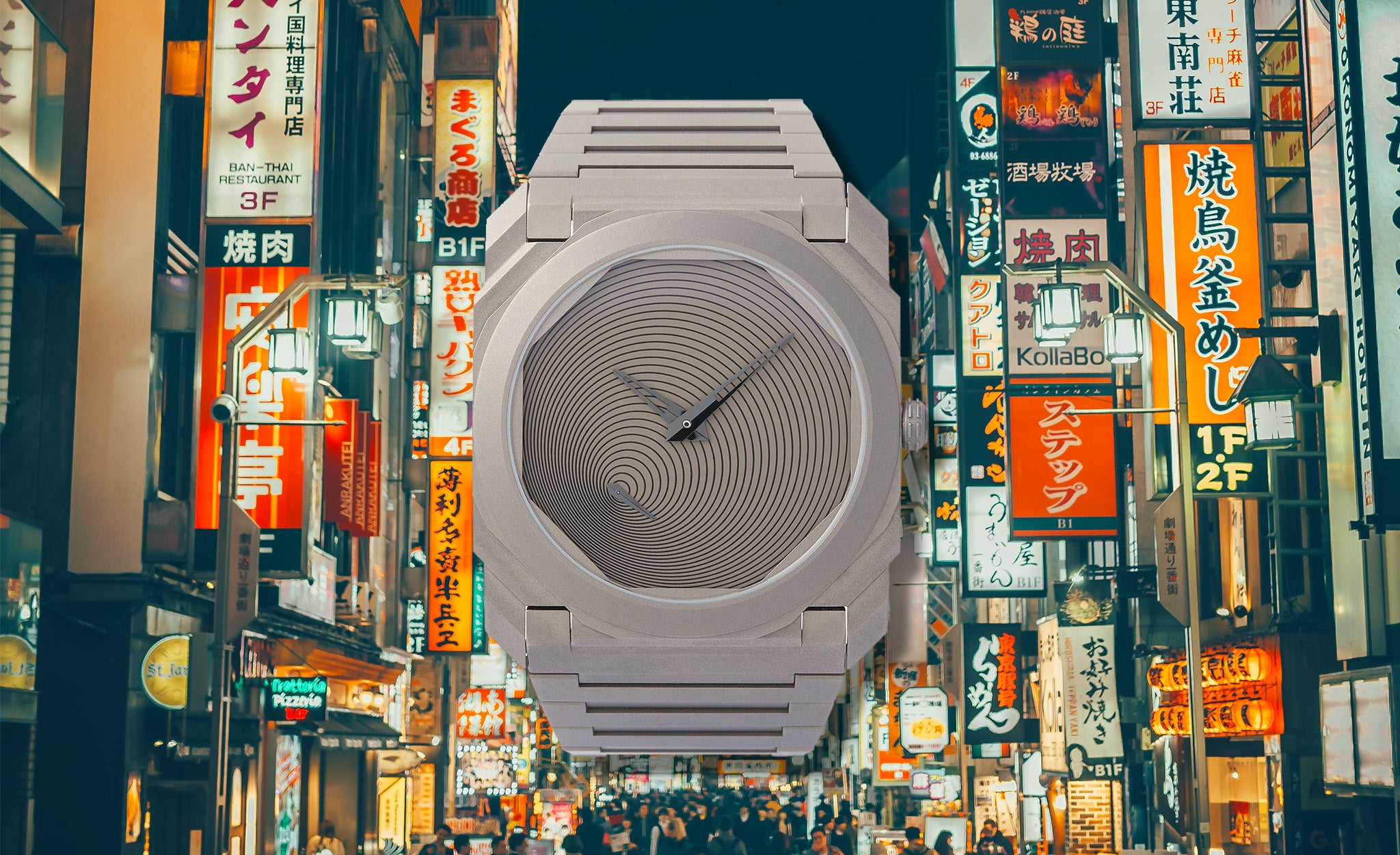 Bulgari Octa Finissimo Japan limited edition designed by Tadao Ando in titanium in front of a lit Japanese street at night for A Collected Man London