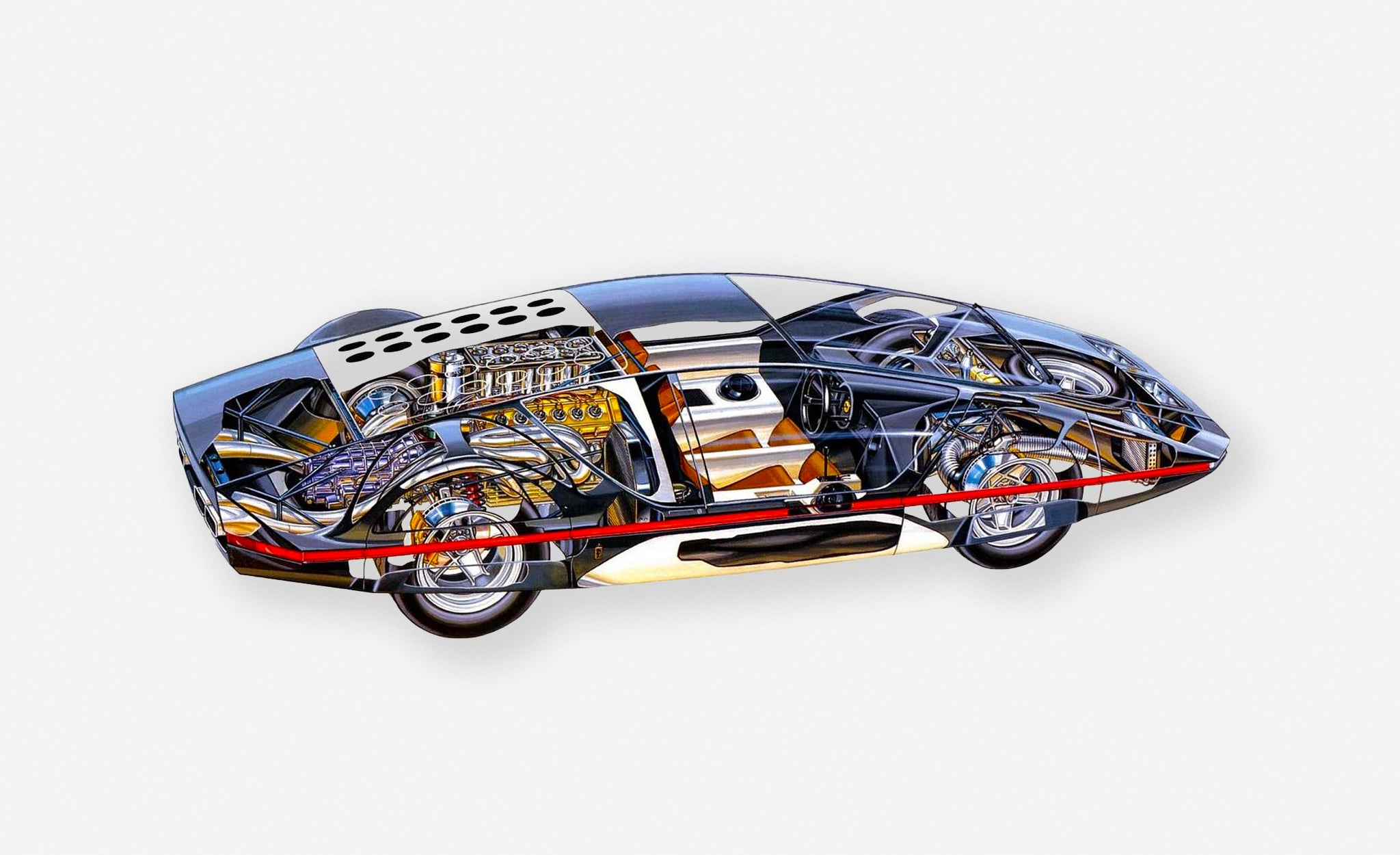 Ferrari 512s Modulo concept car cutaway drawing showing the inner workings and technical details for A Collected Man London
