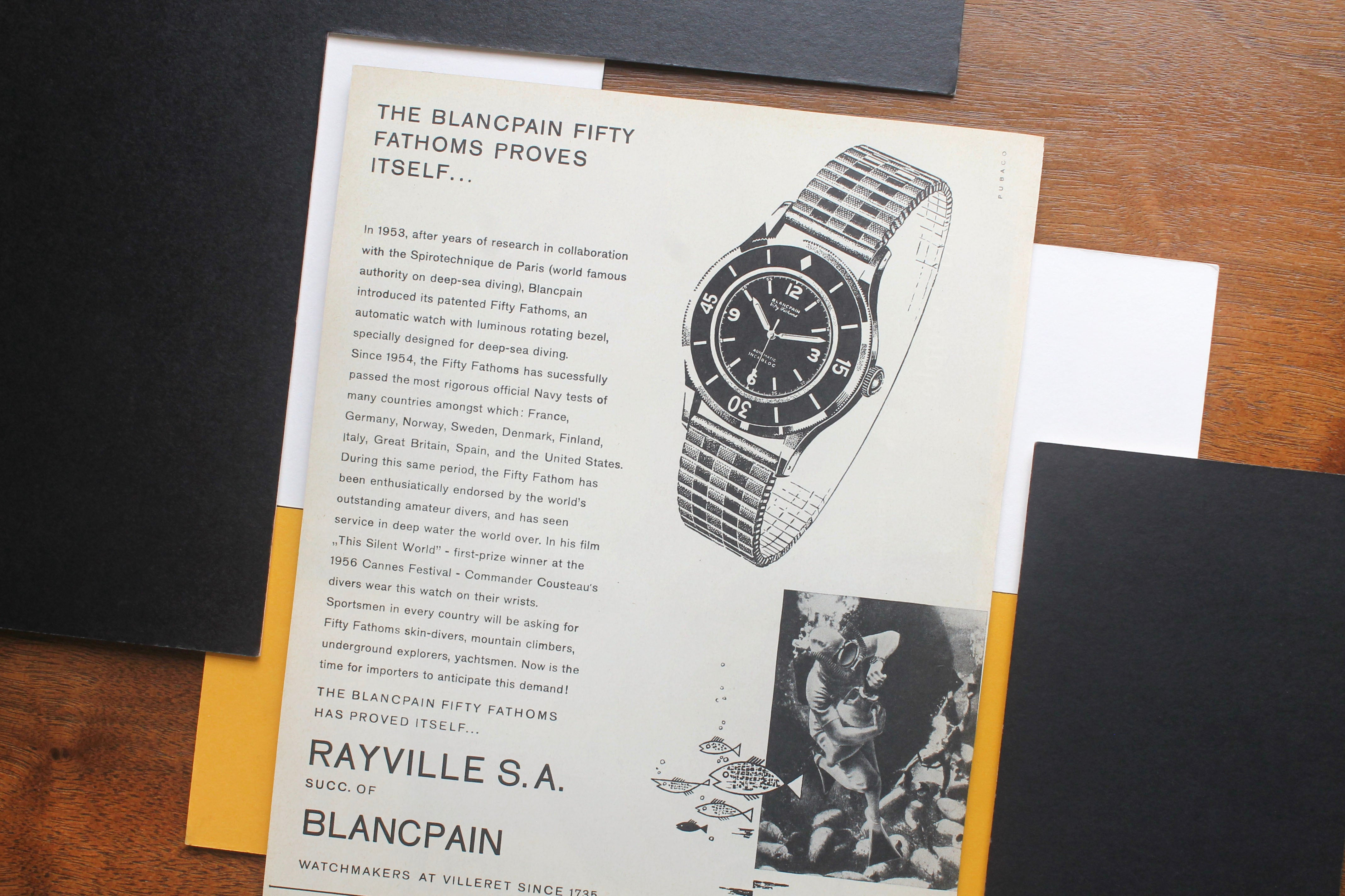 Blancpain Fifty Fathoms advert in How Have Watches Been Advertised Over Time? for A Collected Man London