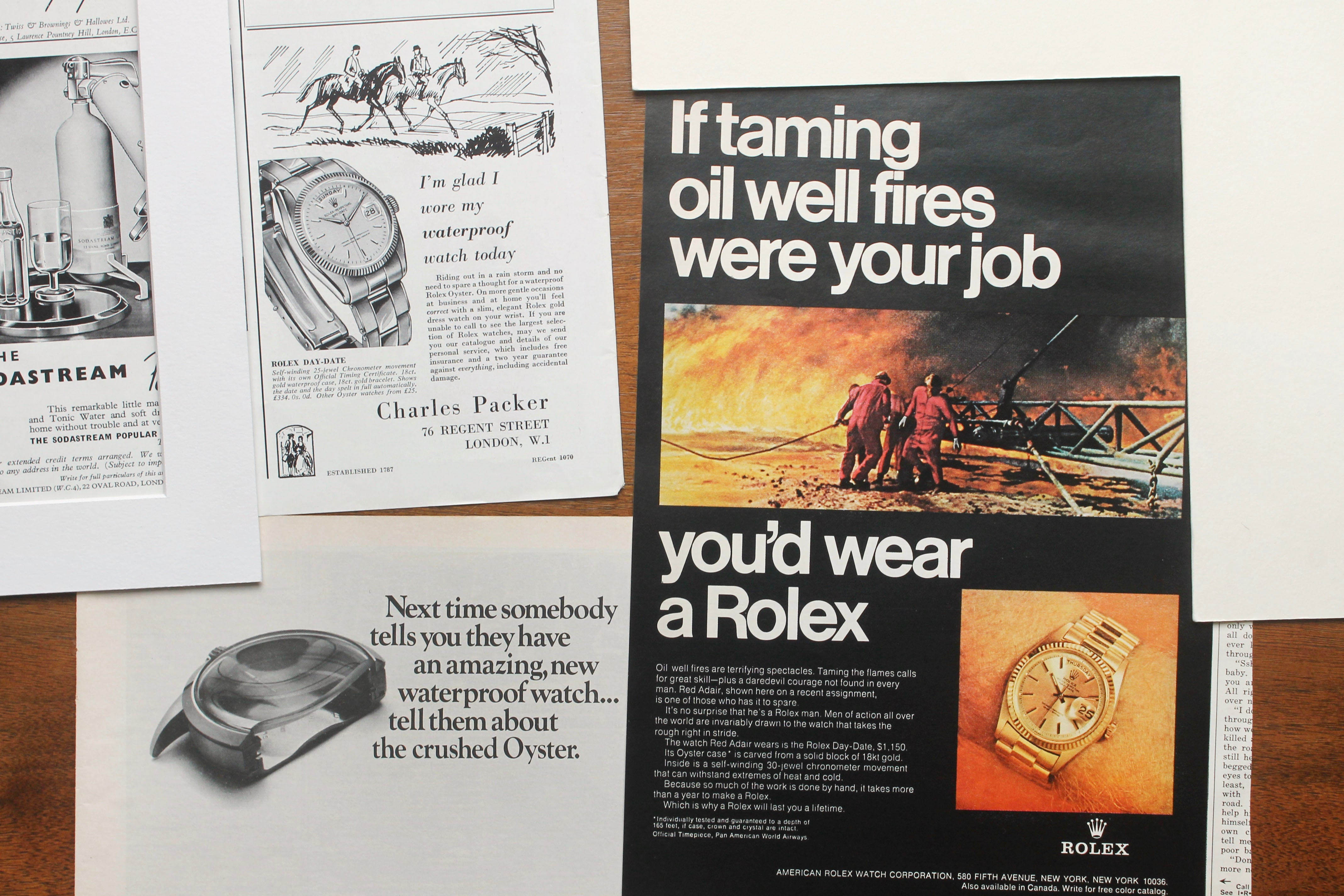 Rolex adverts including oil fires in How Have Watches Been Advertised Over Time? for A Collected Man London