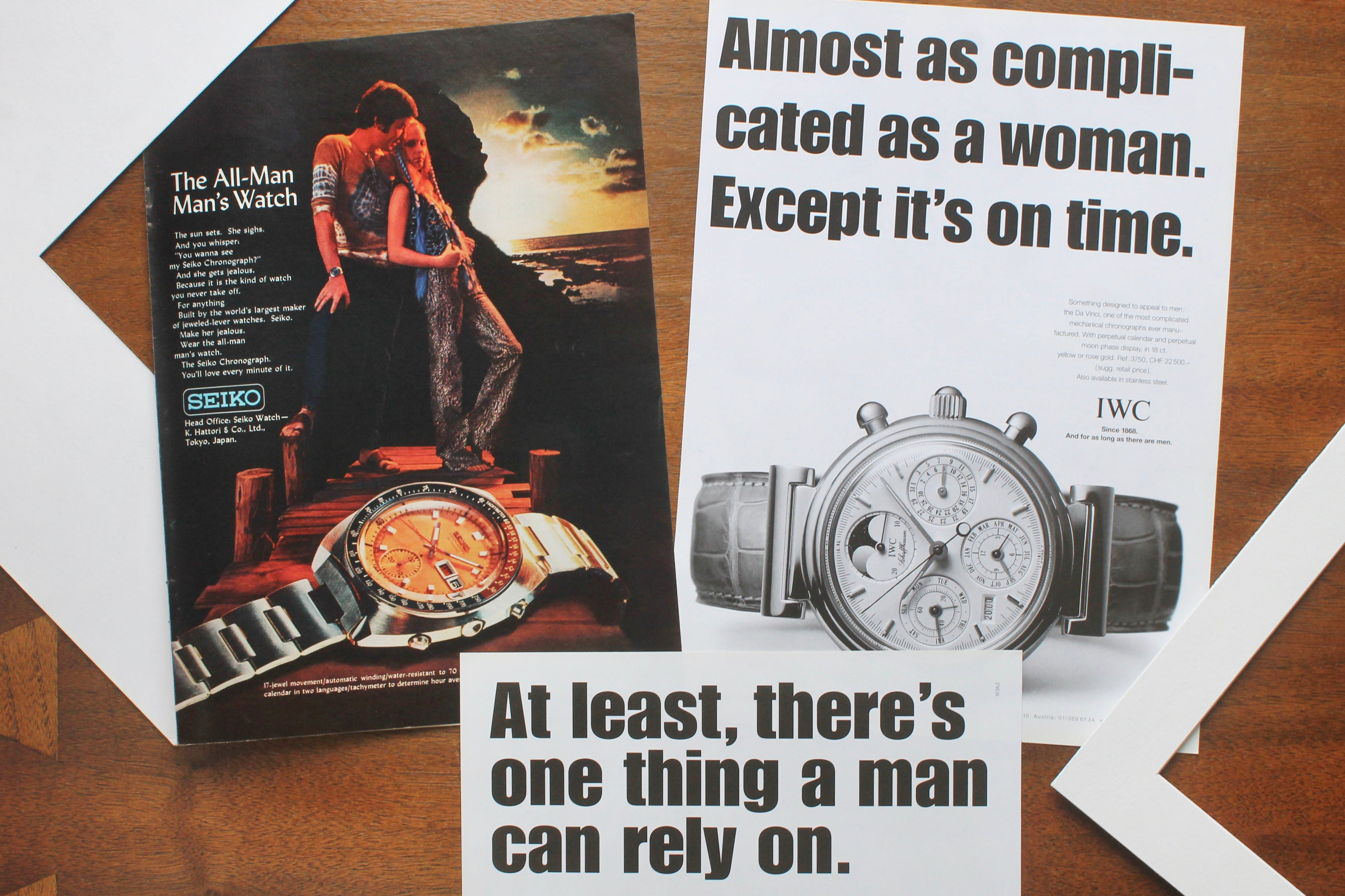Seiko and IWC masculine adverts in How Have Watches Been Advertised Over Time? for A Collected Man London