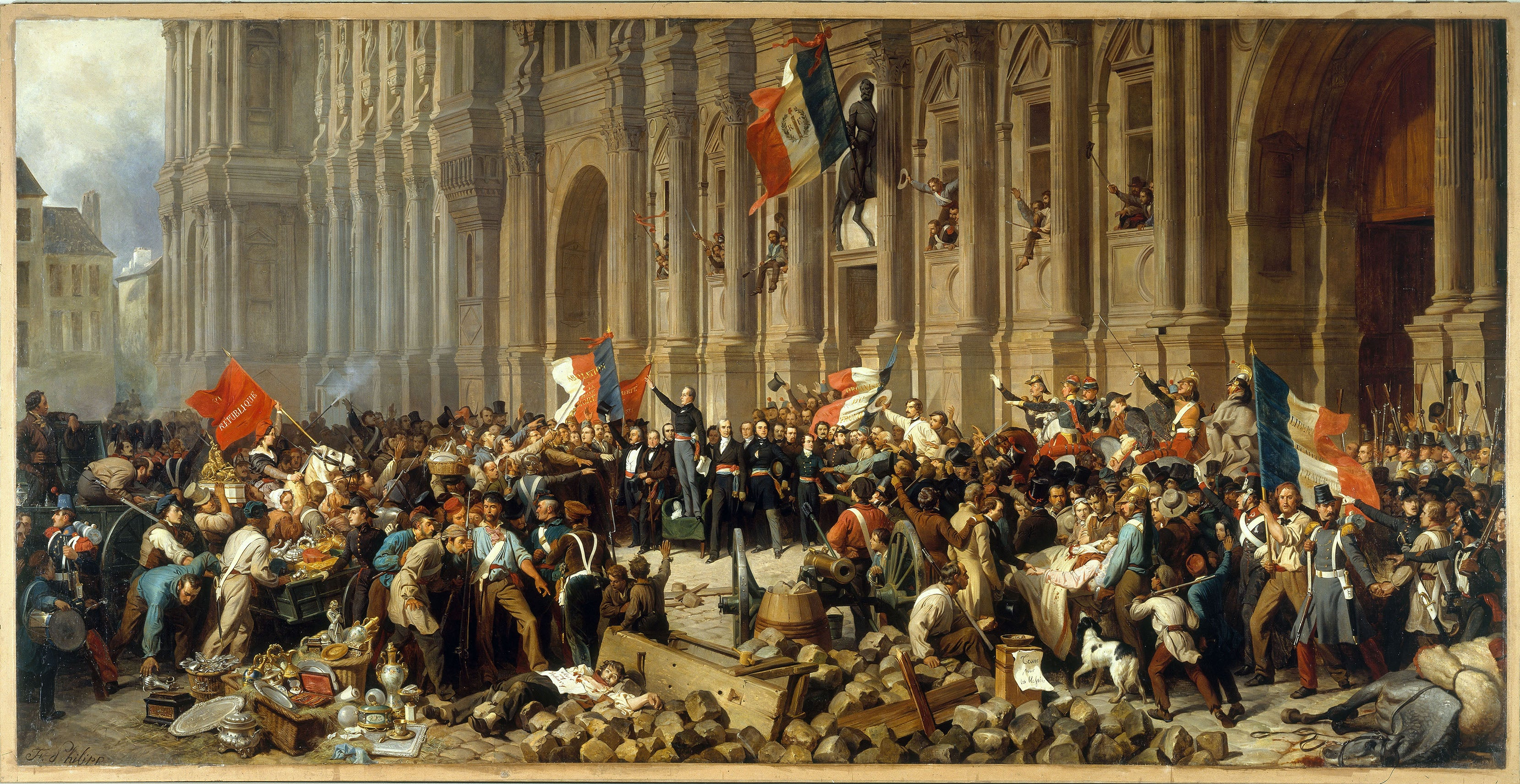 Lamartine rejecting the red flag in front of the Paris Town Hall on 25<sup>th</sup> February 1848, painted by Henri Félix Emmanuel Philippoteaux