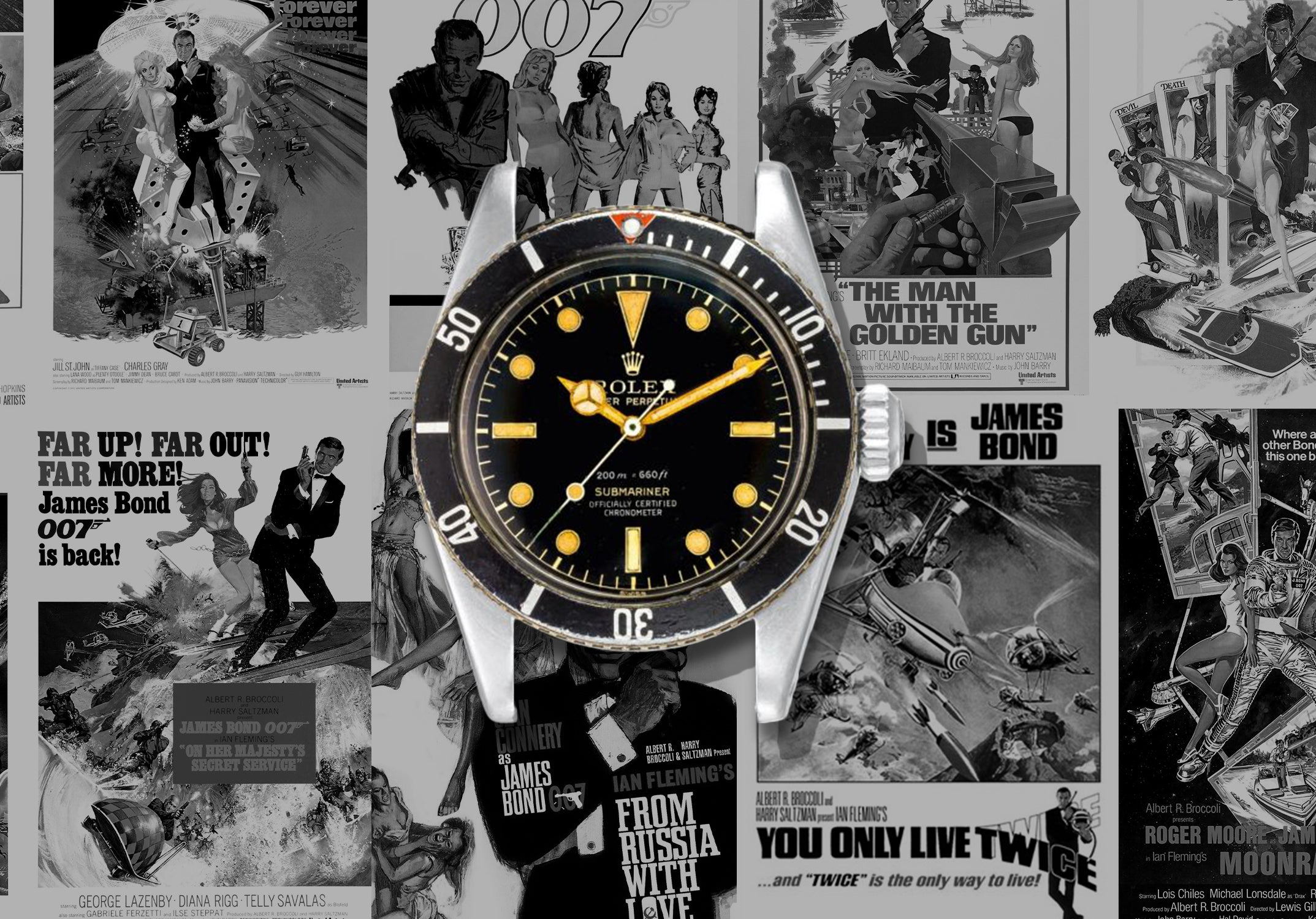 Rolex Submariner Big Crown from James Bond Dr No with vintage James Bond posters for A Collected Man Lodnon