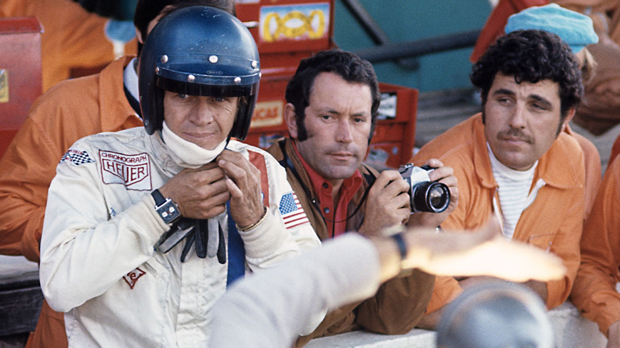 Steve McQueen on set atLe Mans wearing Heuer Monaco for A Collected Man London