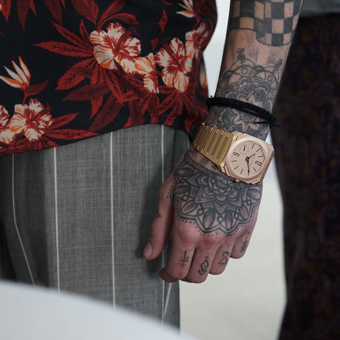 Bulgari Octo Finissimo sand blasted rose gold on Zyan Malik's wrist for A Collected Man London