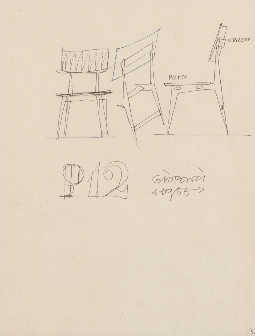 Gio Ponti chair design sketch for A Collected Man London
