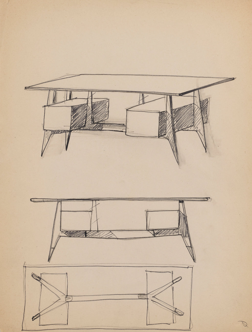 Gio Ponti Table design sketch in The Eclectic Life and Work of Gio Ponti for A Collected Man London