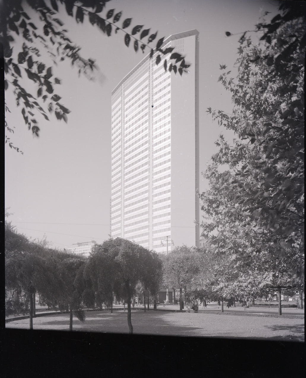 Gio Ponti black and white image of Pirelli Tower in The Eclectic Life and Work of Gio Ponti for A Collected Man London