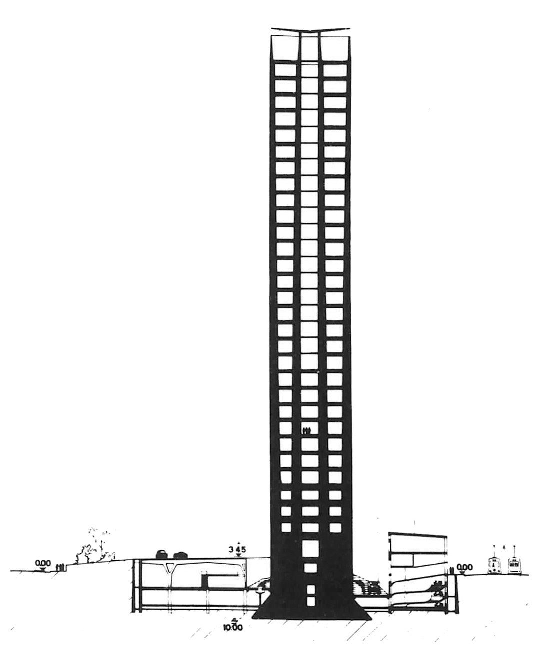 Gio Ponti Profile plan of Pirelli Tower in The Eclectic Life and Work of Gio Ponti for A Collected Man London