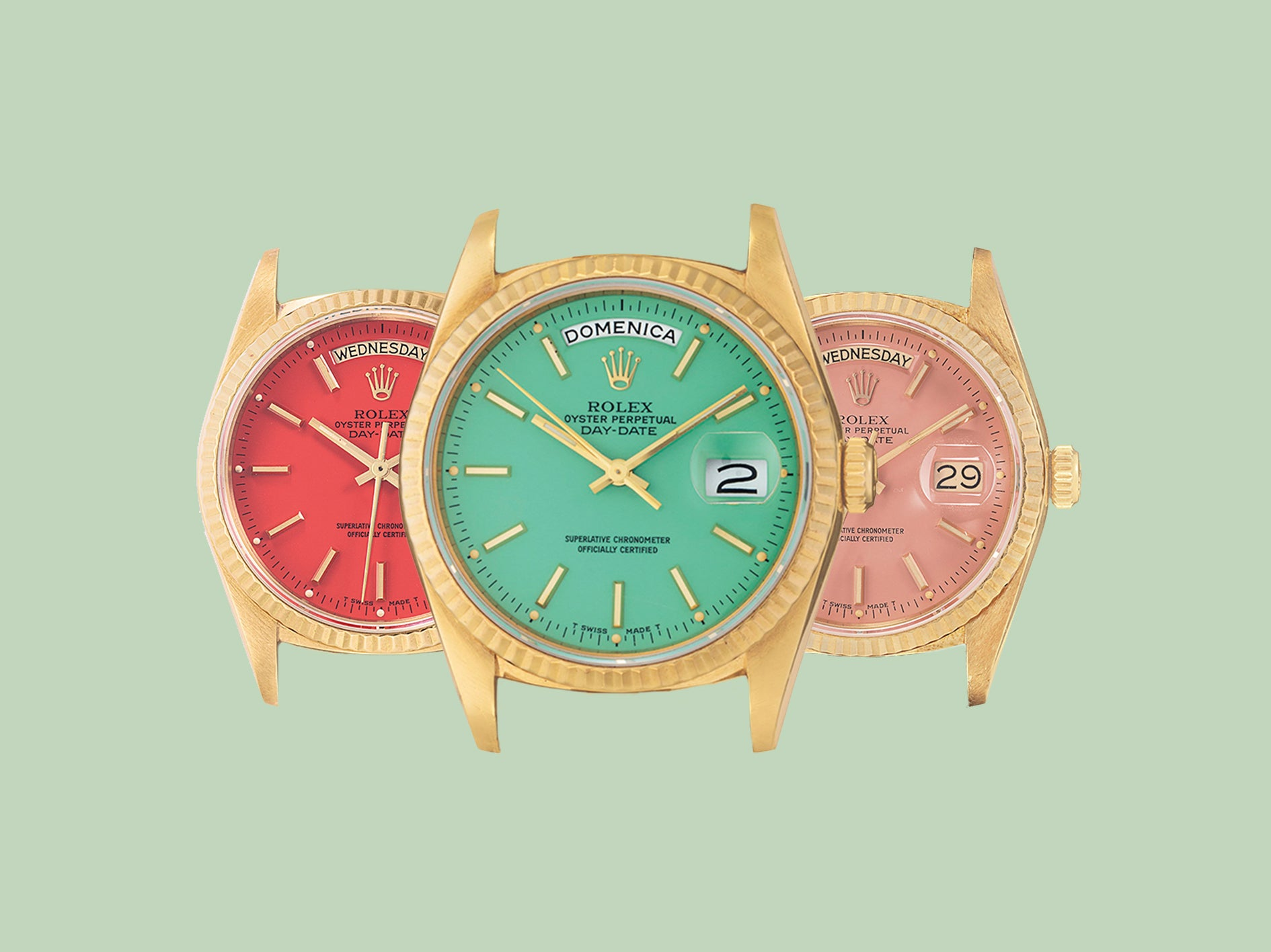Three Rolex Stella Day Dates in a variety of colours for A Collected Man London