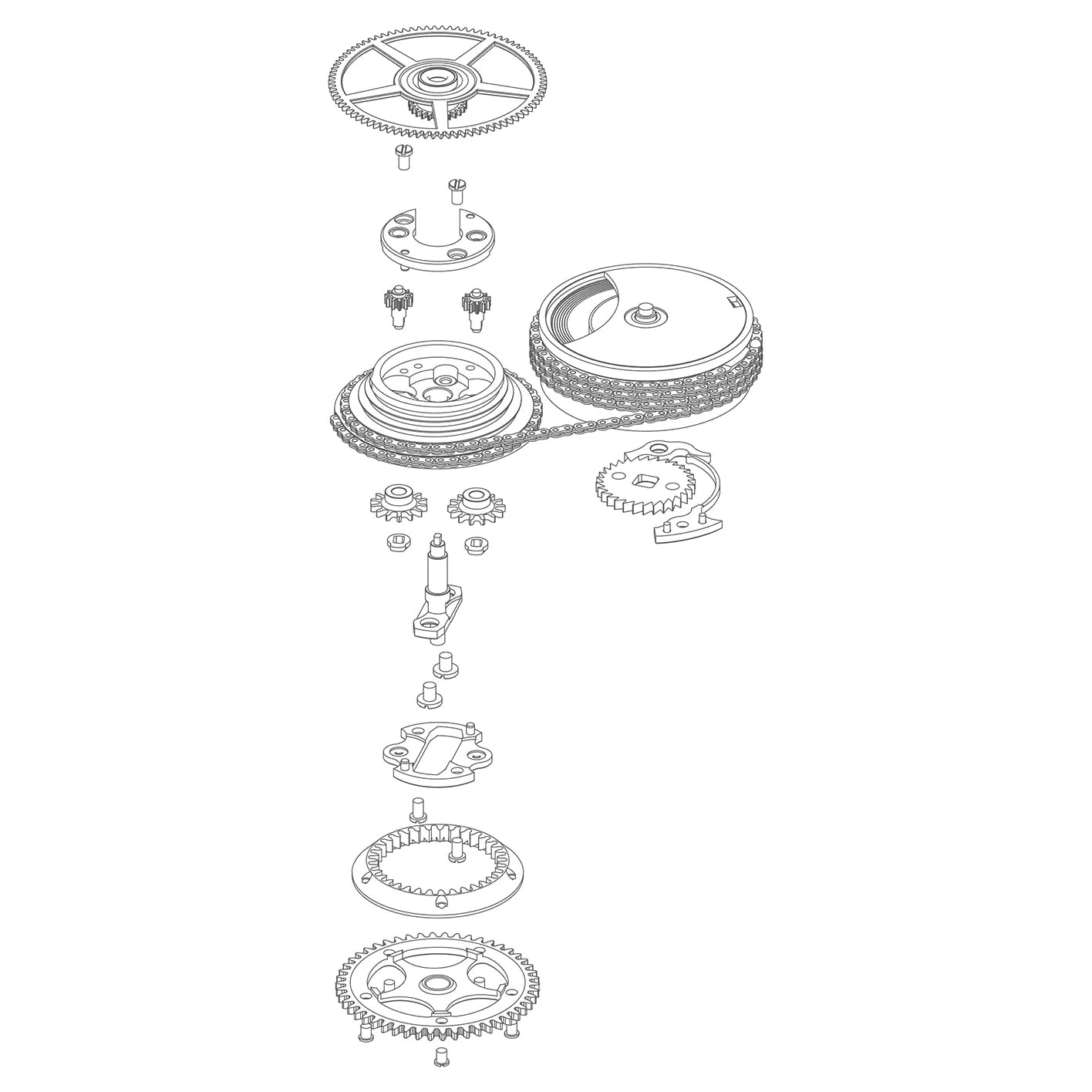 Drawing of exploded Fusee et chain in Chasing Accuracy in Mechanical Wristwatches for A Collected Man London