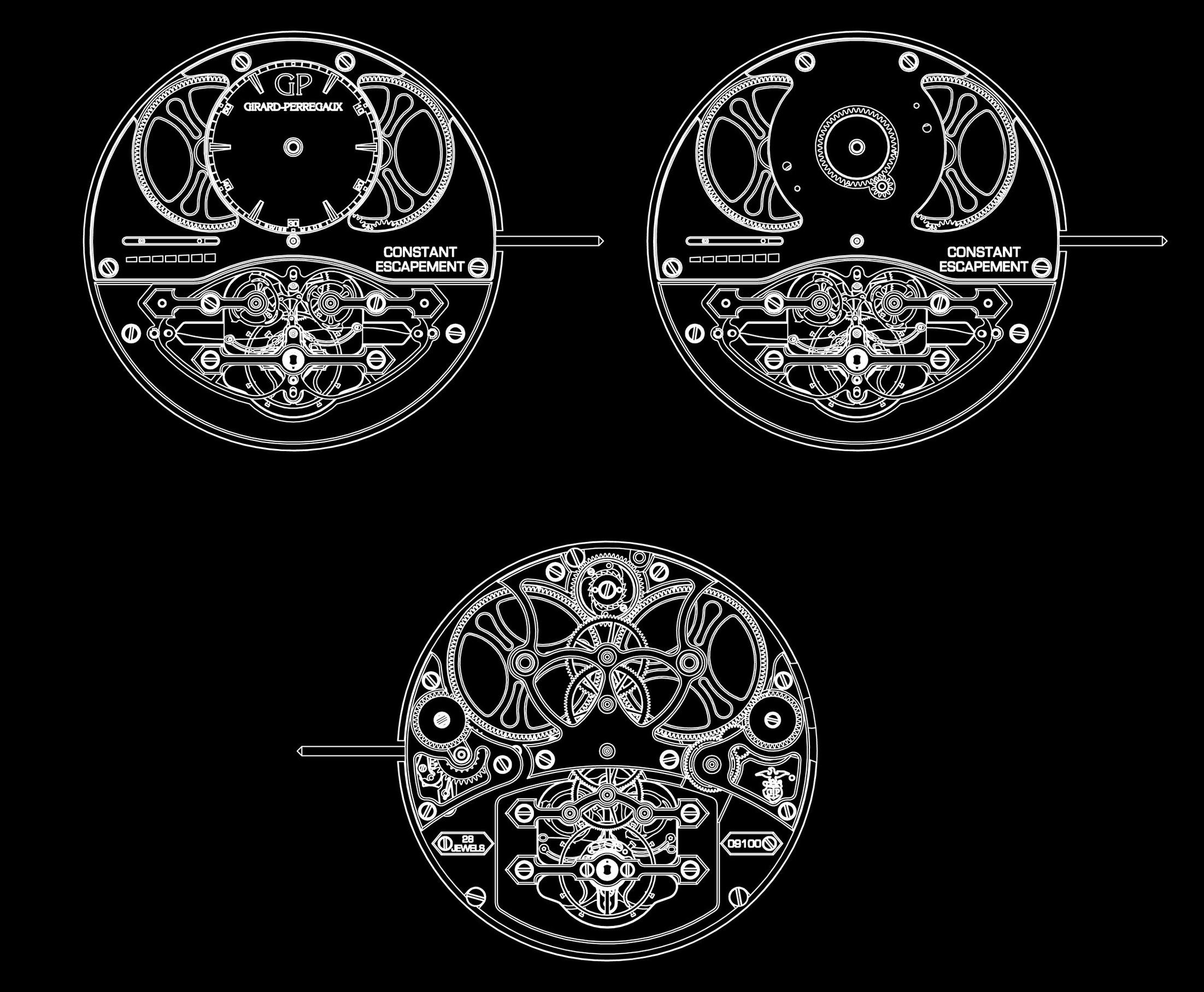 Drawing of Girard Perregaux Constant Escapement movements in Chasing Accuracy in Mechanical Wristwatches for A Collected Man London