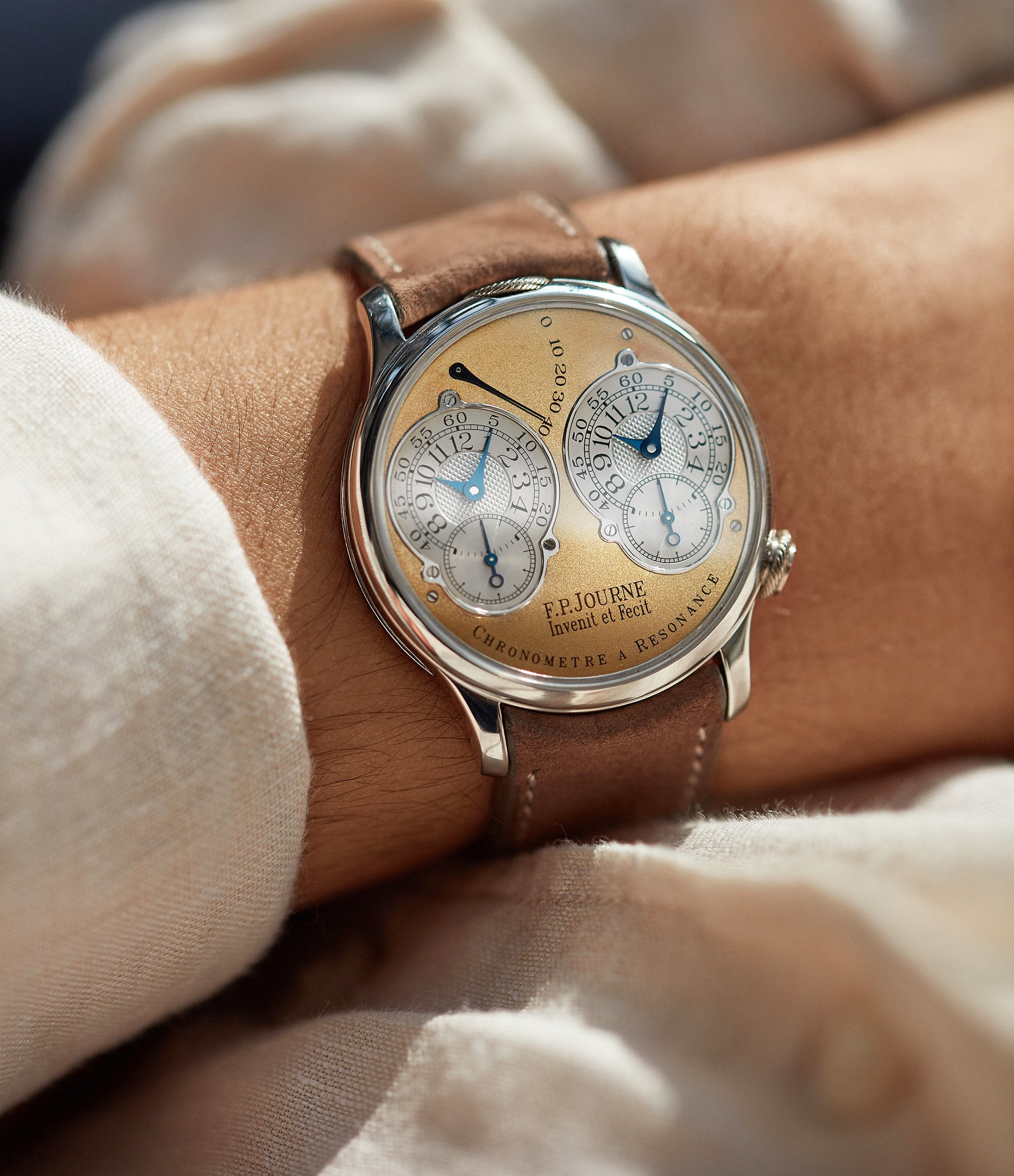 F.P. Journe Resonance front shots in Chasing Accuracy in Mechanical Wristwatches for A Collected Man London