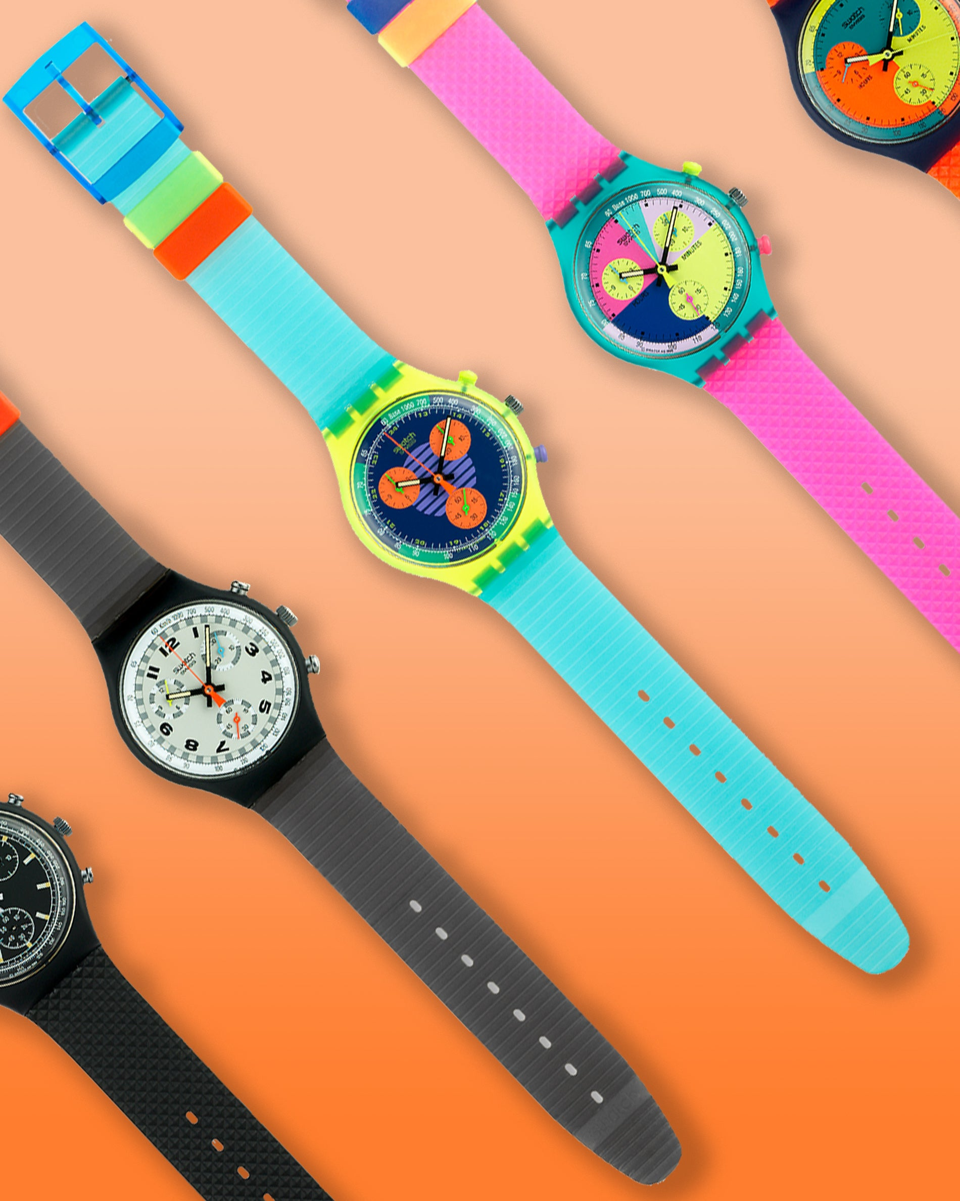 The original Swatch chronographs released in 1990 on an orange background for A Collected Man London