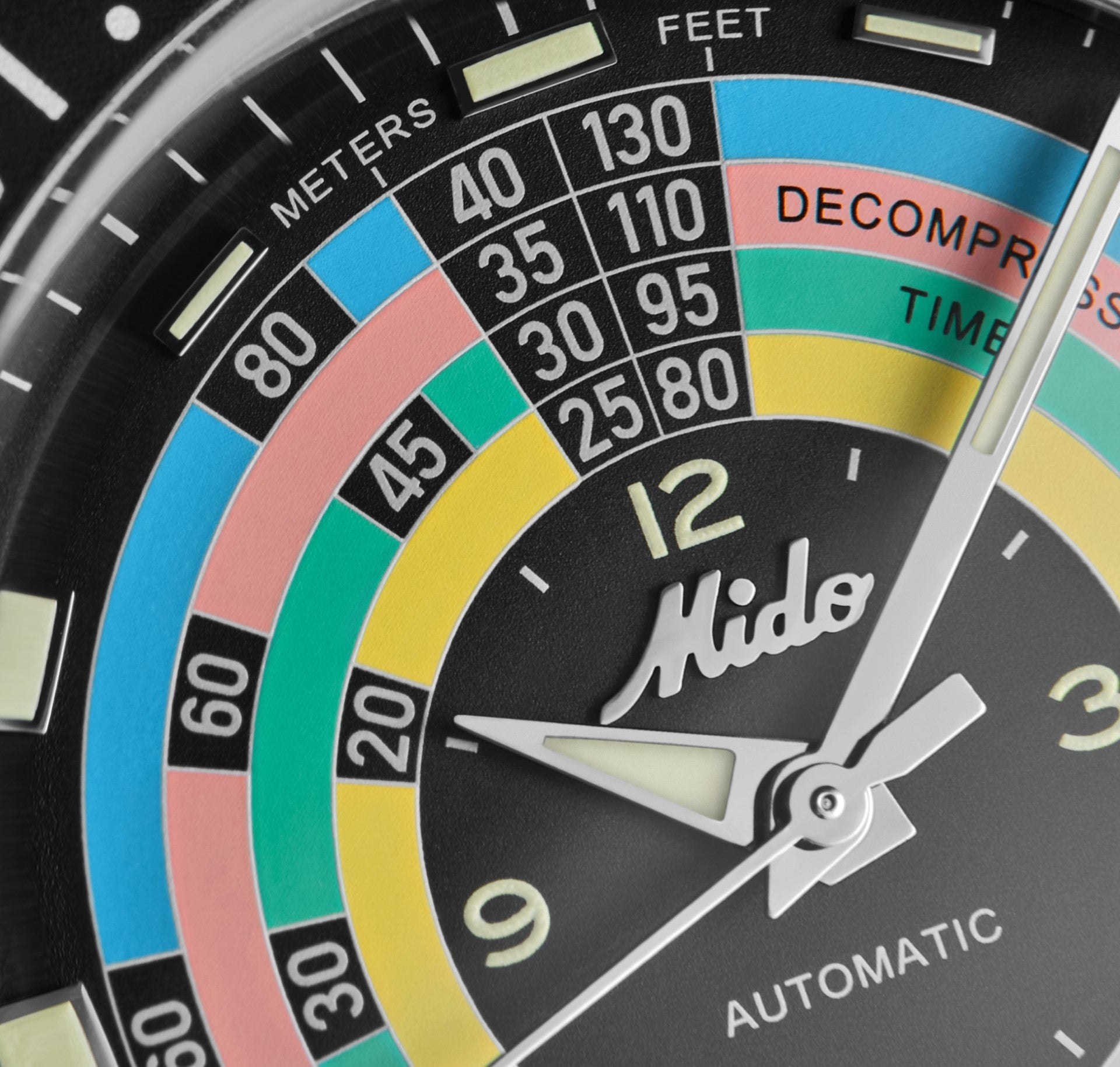Mido Ocean Star Decompression Timer 1961 dial macro in The Colourful World of Vintage Watches for A Collected Man London