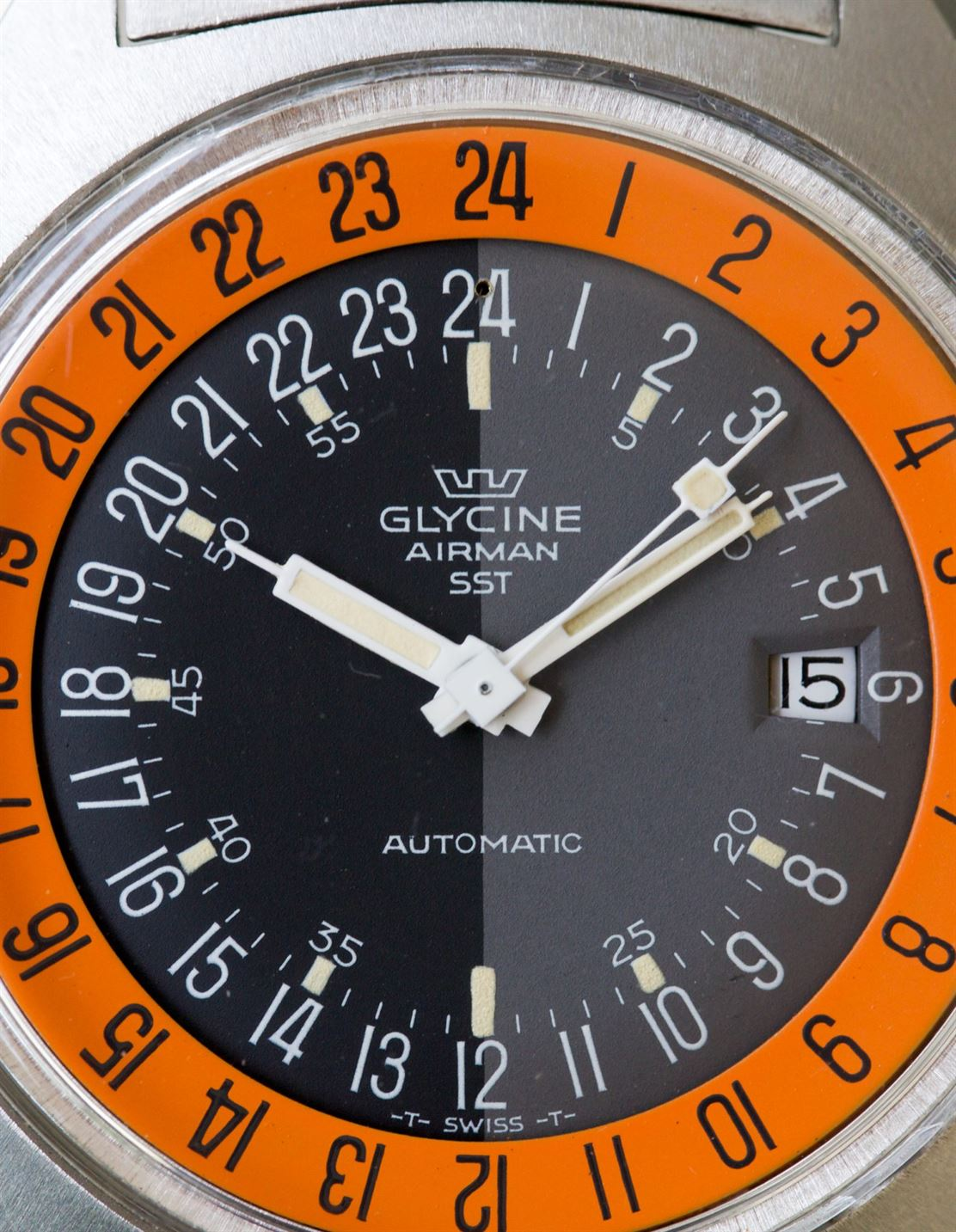 Glysine Airman on angle in The Colourful World of Vintage Watches for A Collected Man London