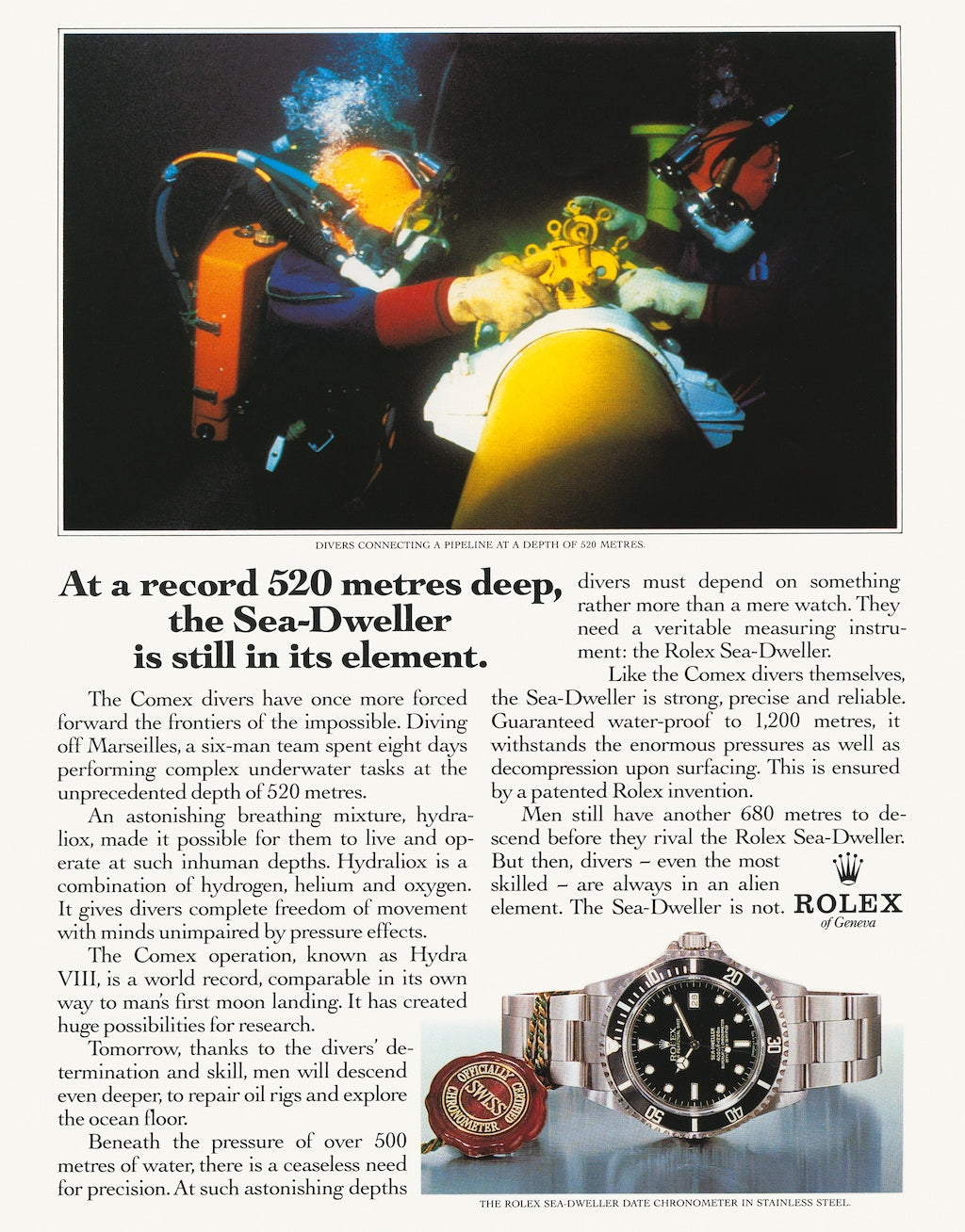 Rolex print advertisement showing their Sea dweller dive watch in action under the sea for A Collected Man London