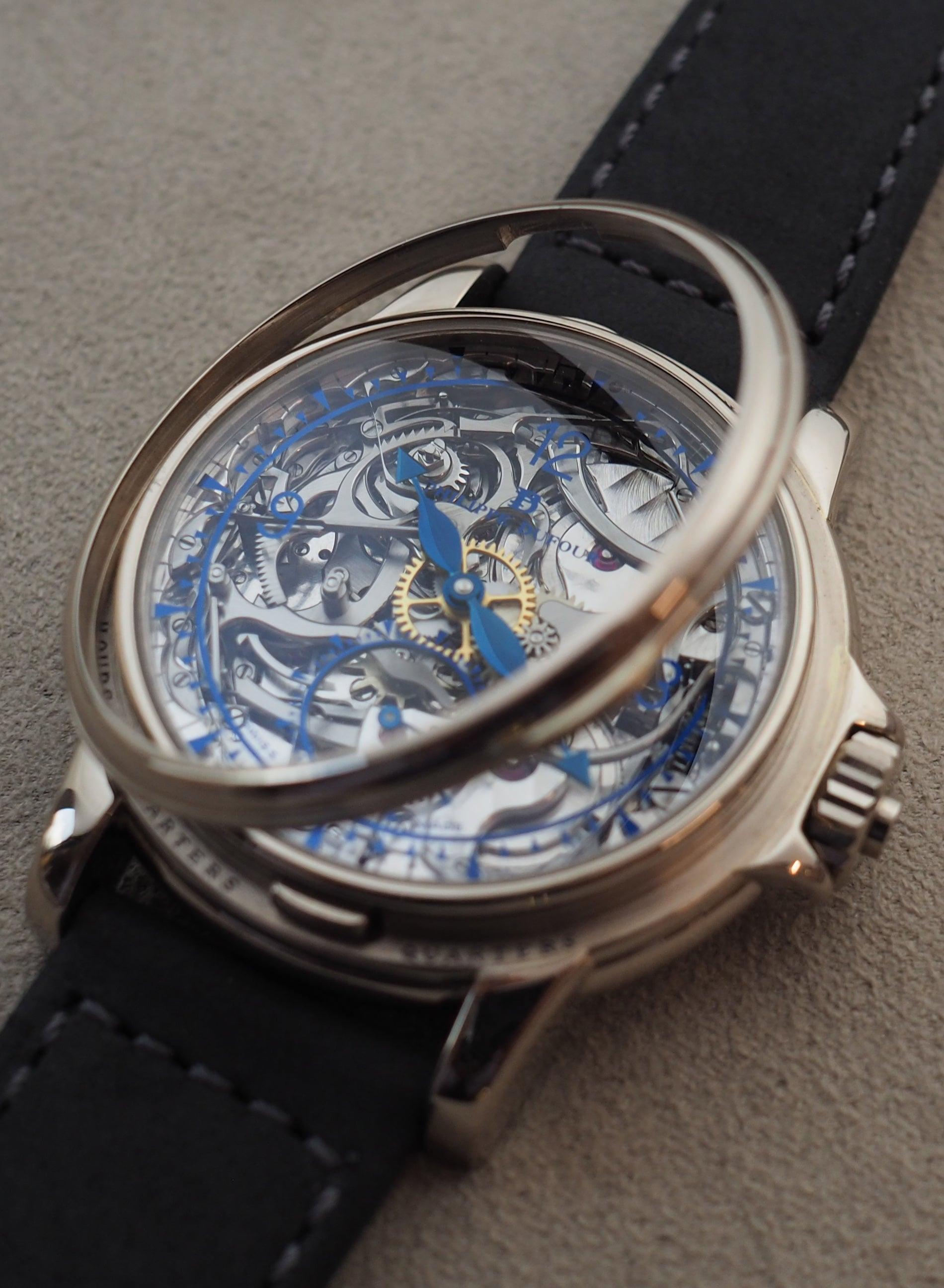 Philippe Dufour Grande Sonnerie minute-repeater sapphire dial with bezel open from Michael Tay for A Collected Man London