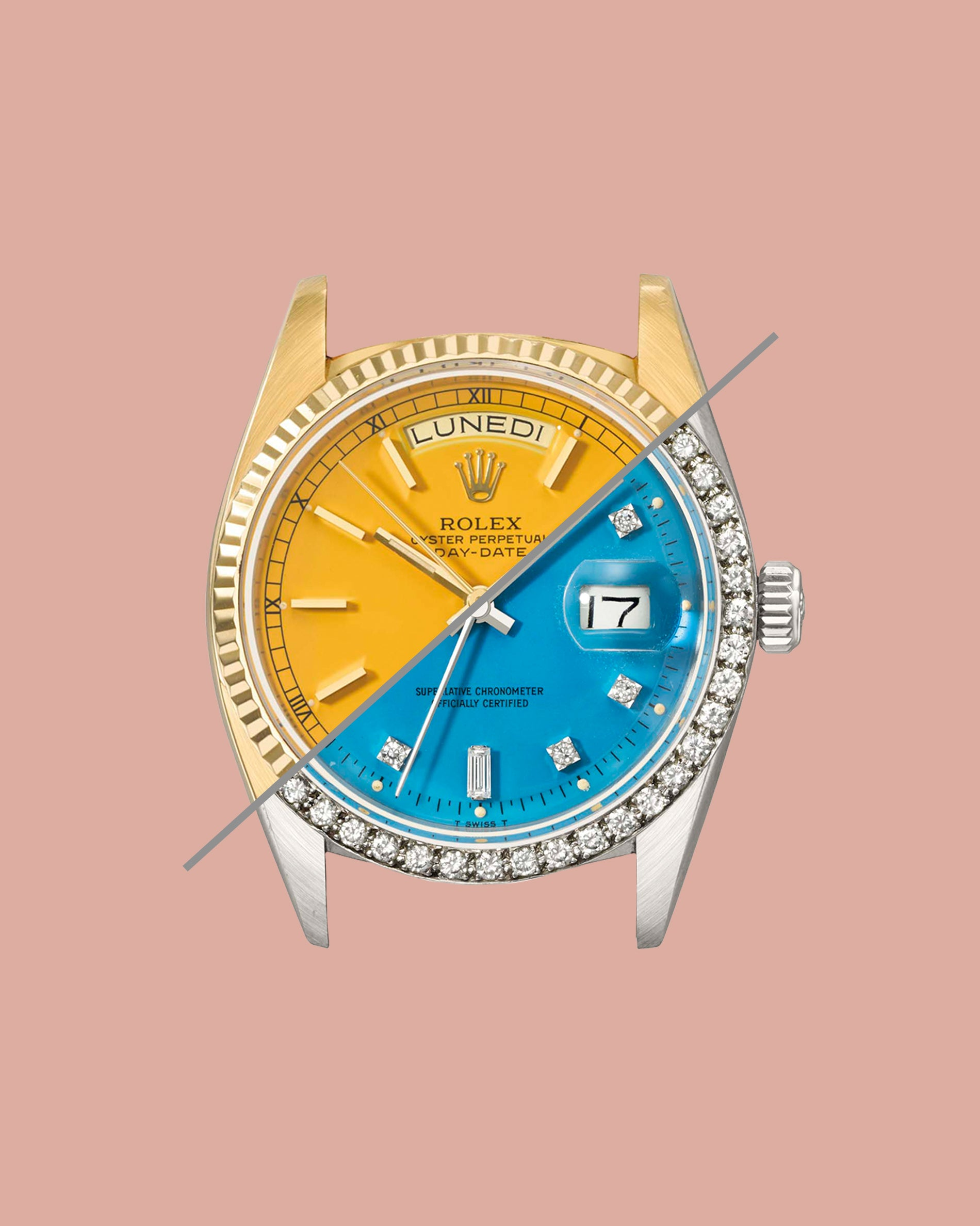 Two Rolex Stella dials cut in half, one yellow and one blue with diamond markers and bezels for A Collected Man London
