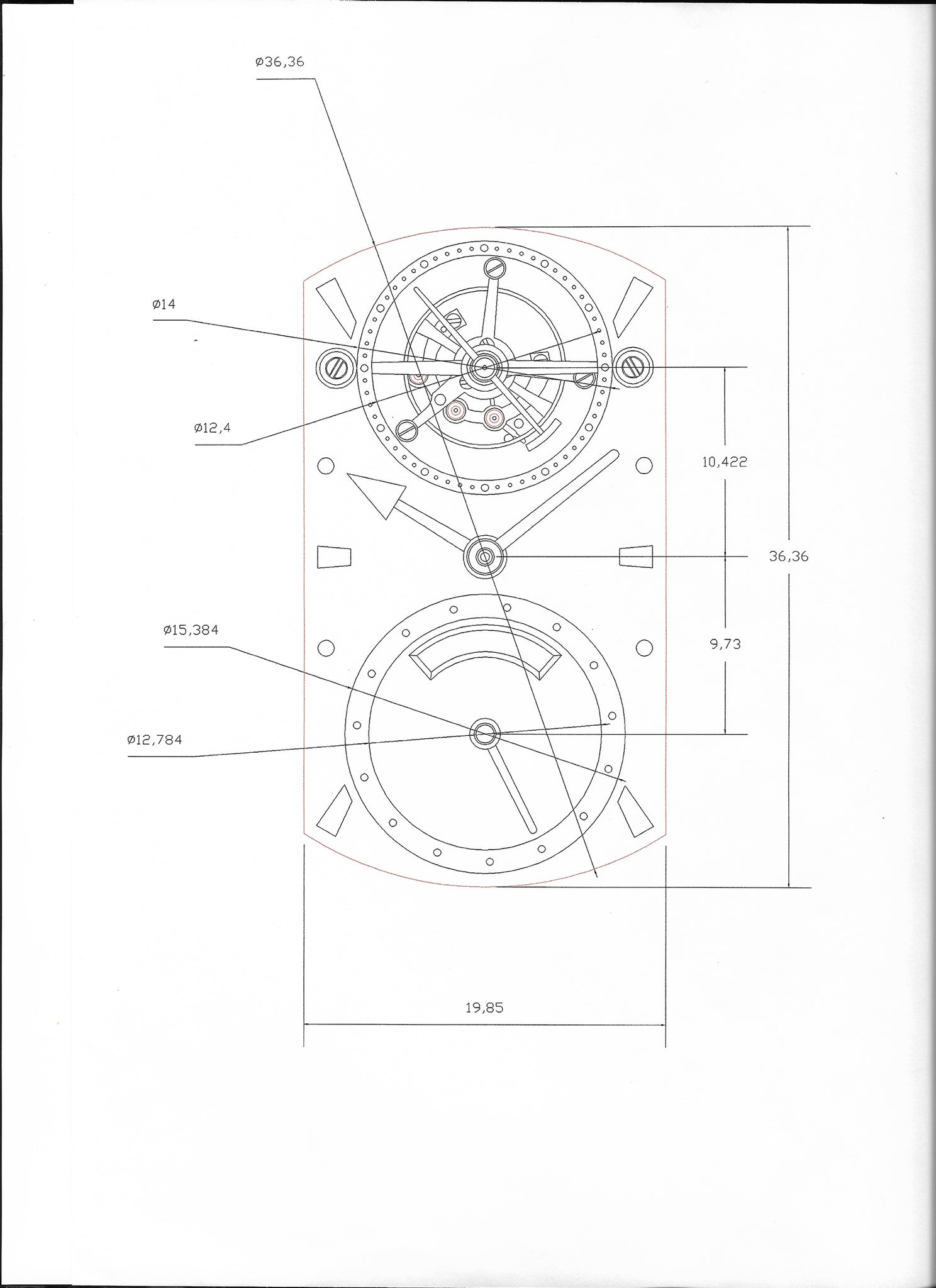 Design drawing for George Daniels Blue wristwatch