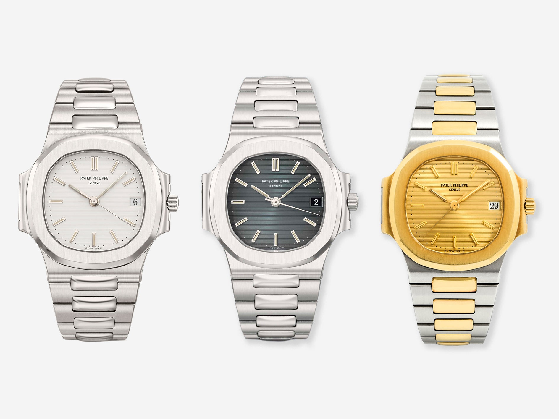 Three Patek Philippe Nautilus 3800s with white, blue and gold ridged dials from A Collected Man London