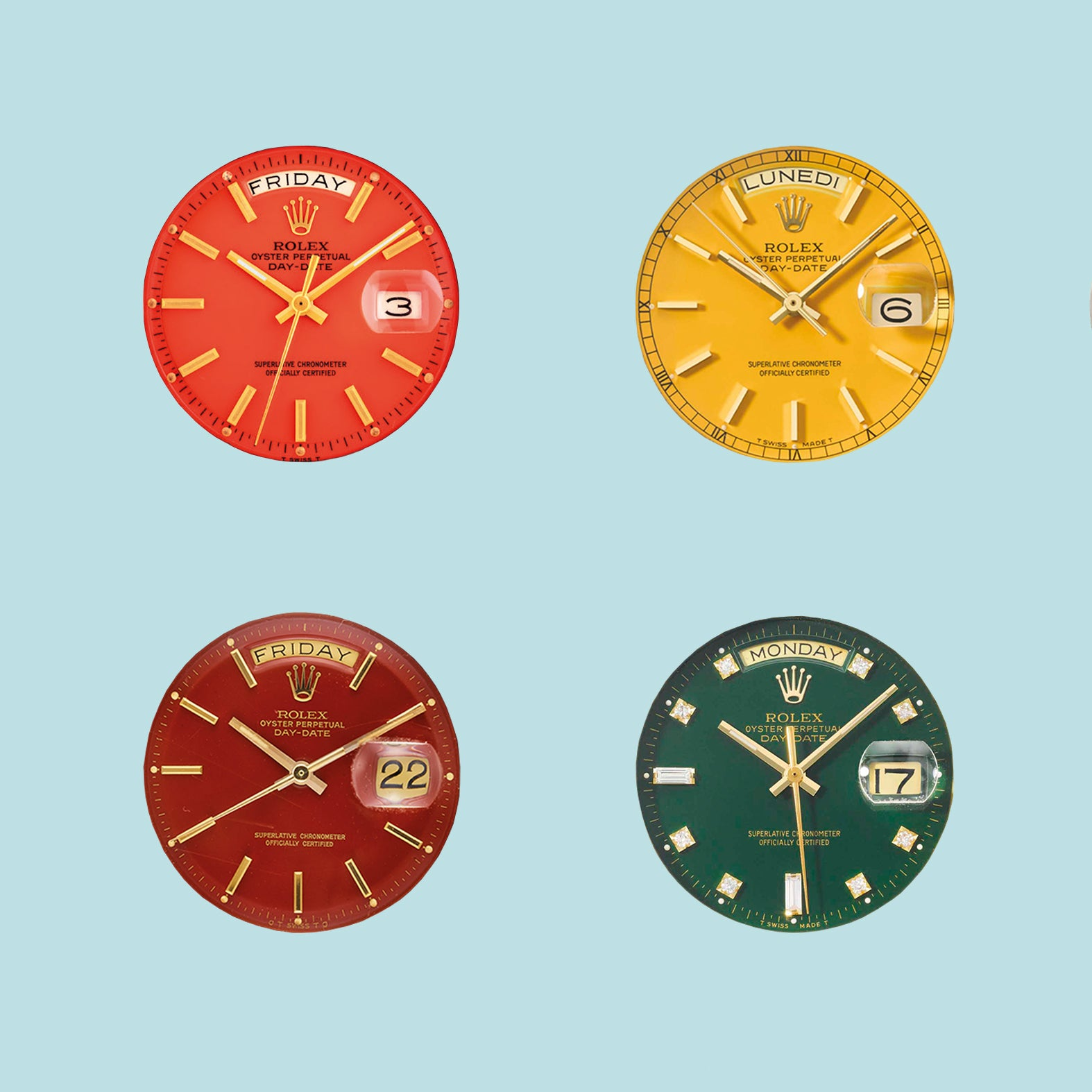 Four Rolex Stella day date dials in green, yellow, red and oxblood for A Collected Man London