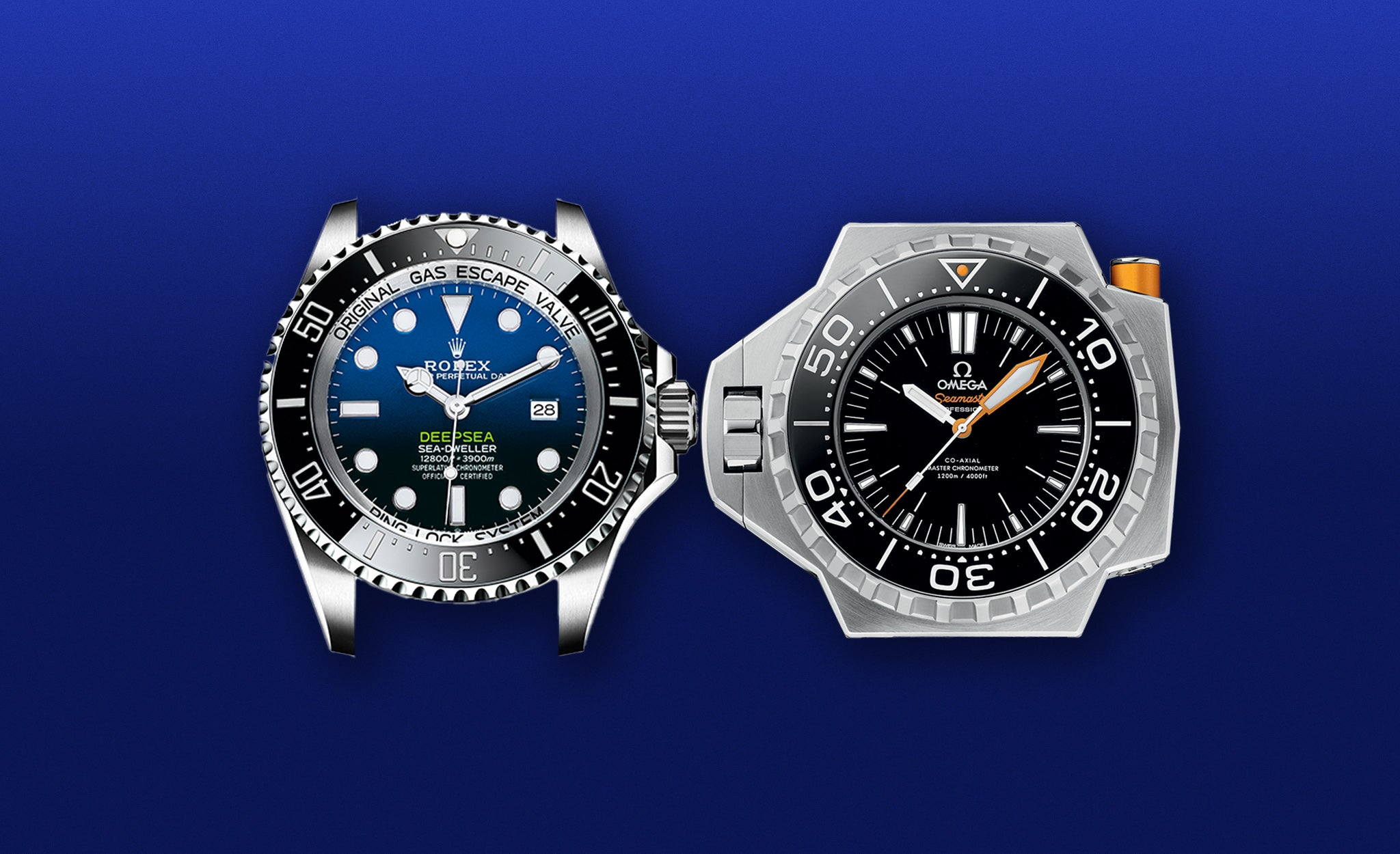 Rolex deepsea challenge sea-dweller and Omega Ploprof 1200m for A Collected Man London