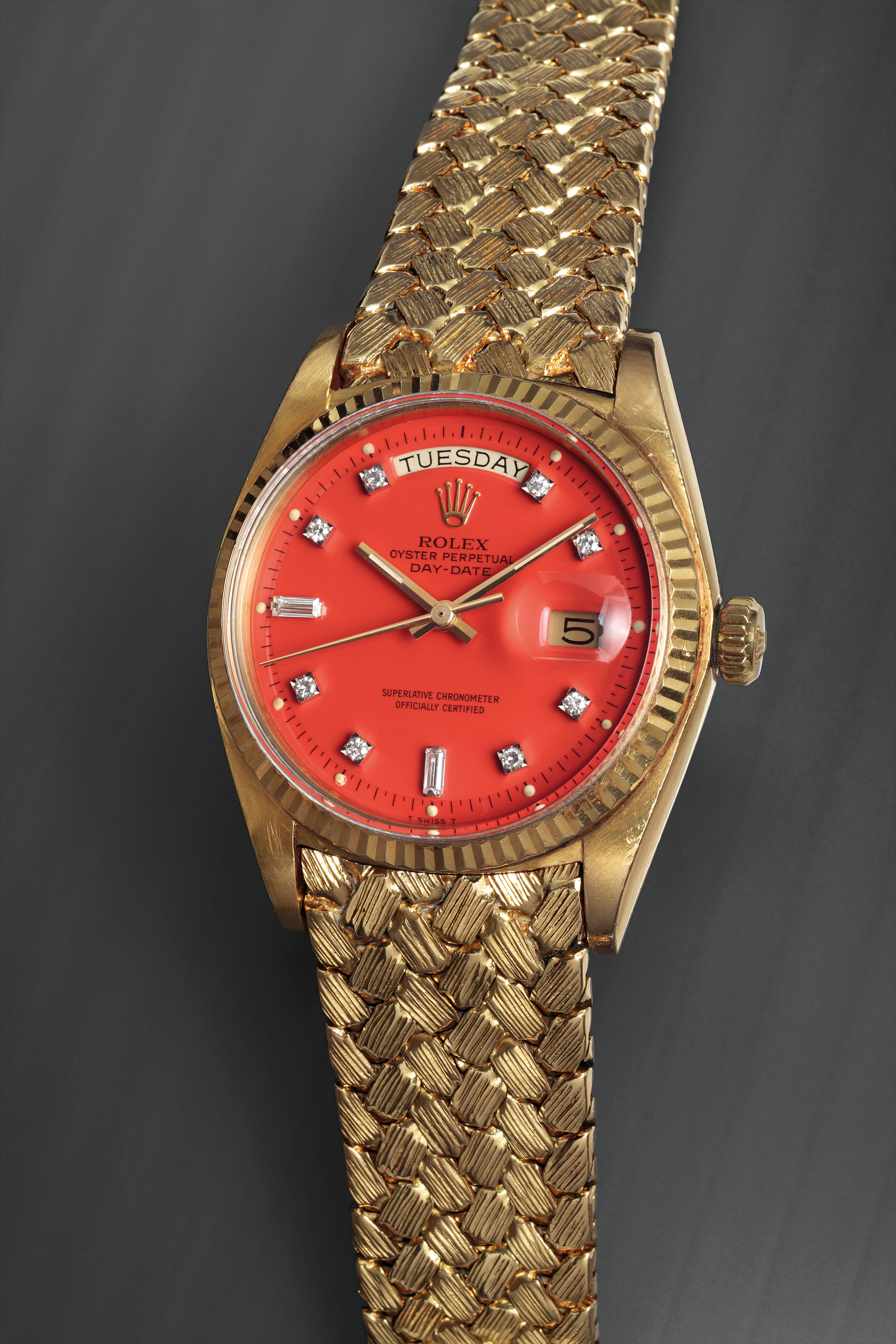 Rolex red Stella dial Day Date with special bracelet for A Collected Man London