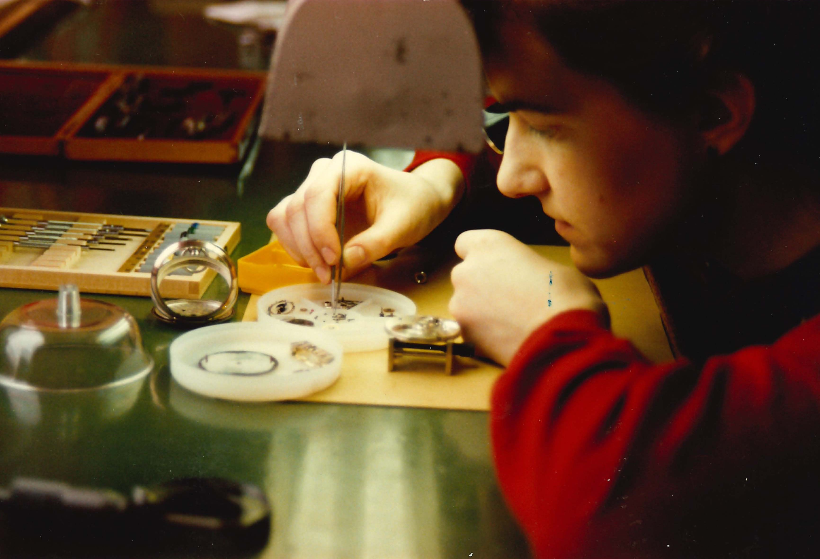 Finnish School of Watchmaking archive image of a student working for A Collected Man London